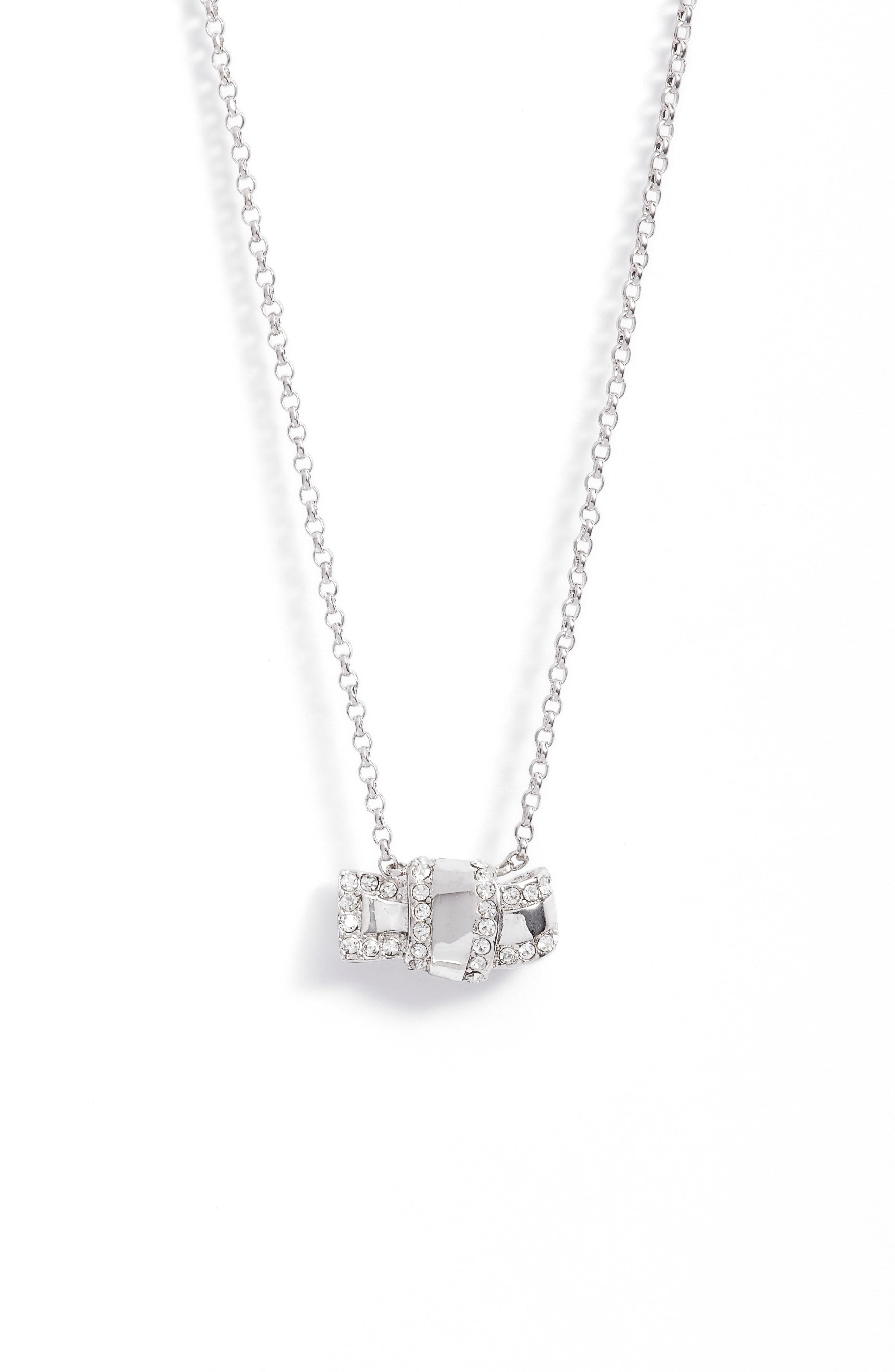 all tied up pavé pendant necklace,                         Main,                         color, 040