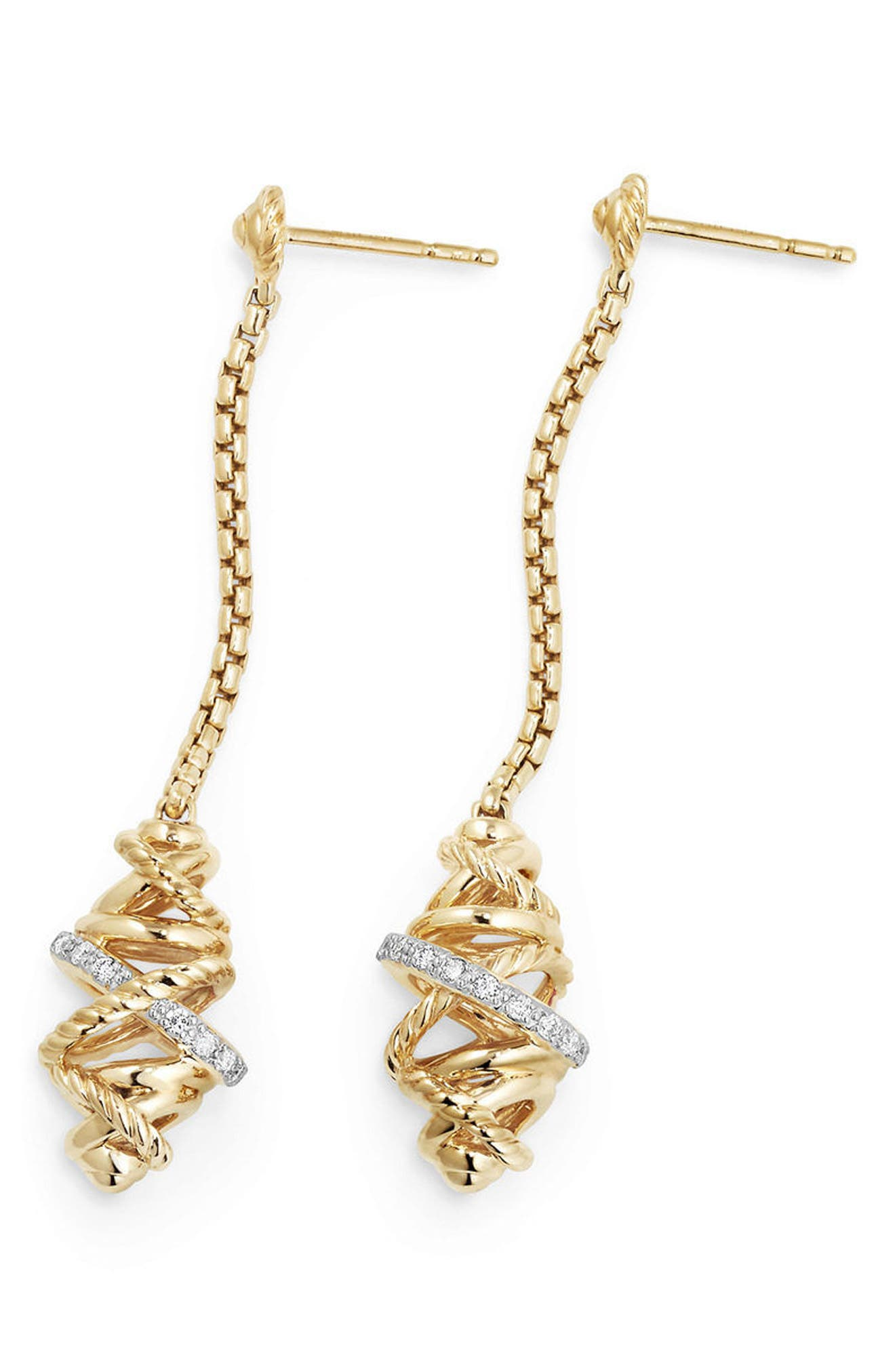 Crossover Chain Drop Earrings with Diamonds in 18K Gold,                             Alternate thumbnail 2, color,                             YELLOW GOLD/ DIAMOND