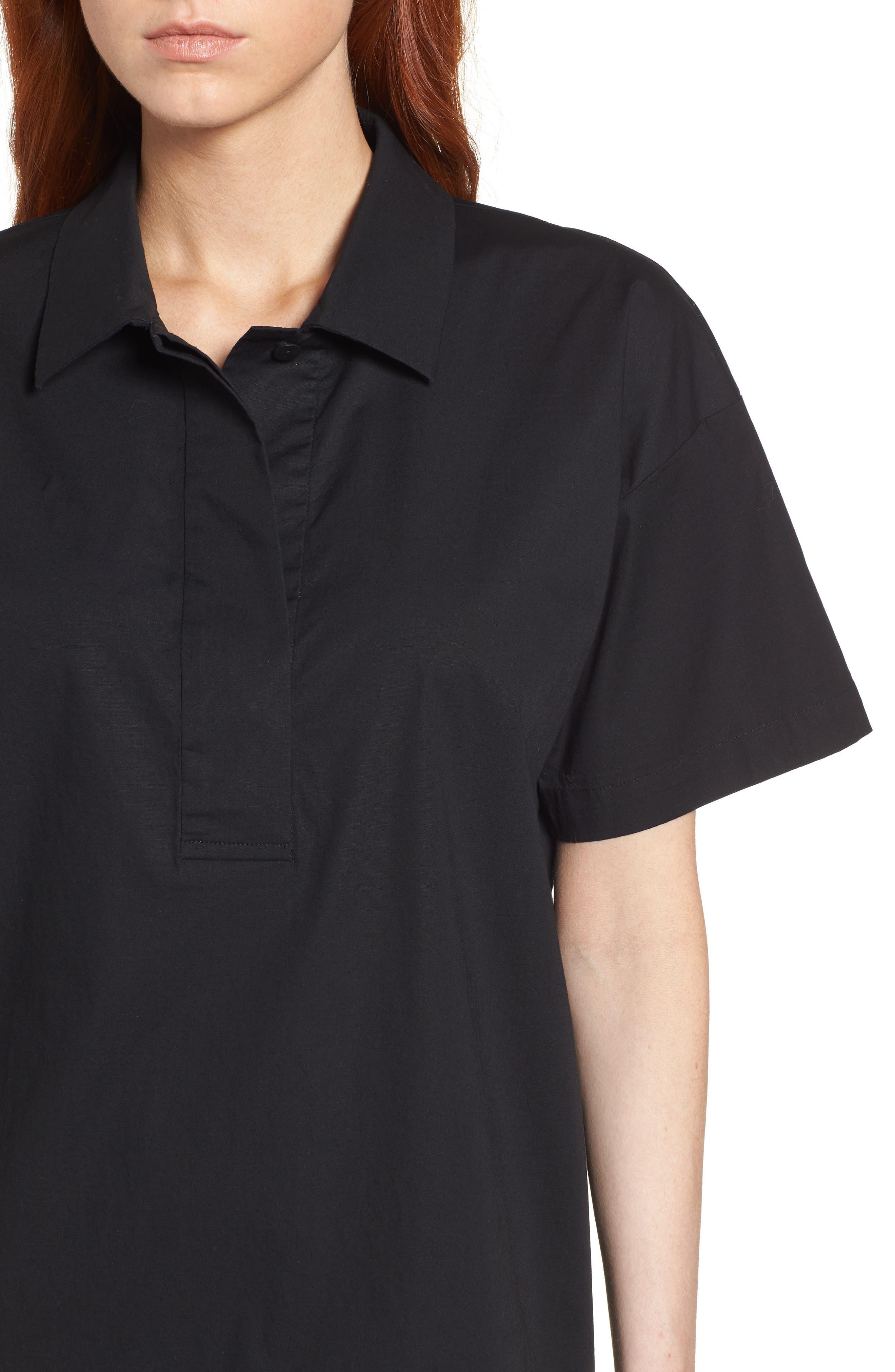 Organic Cotton Poplin Shirtdress,                             Alternate thumbnail 4, color,                             001