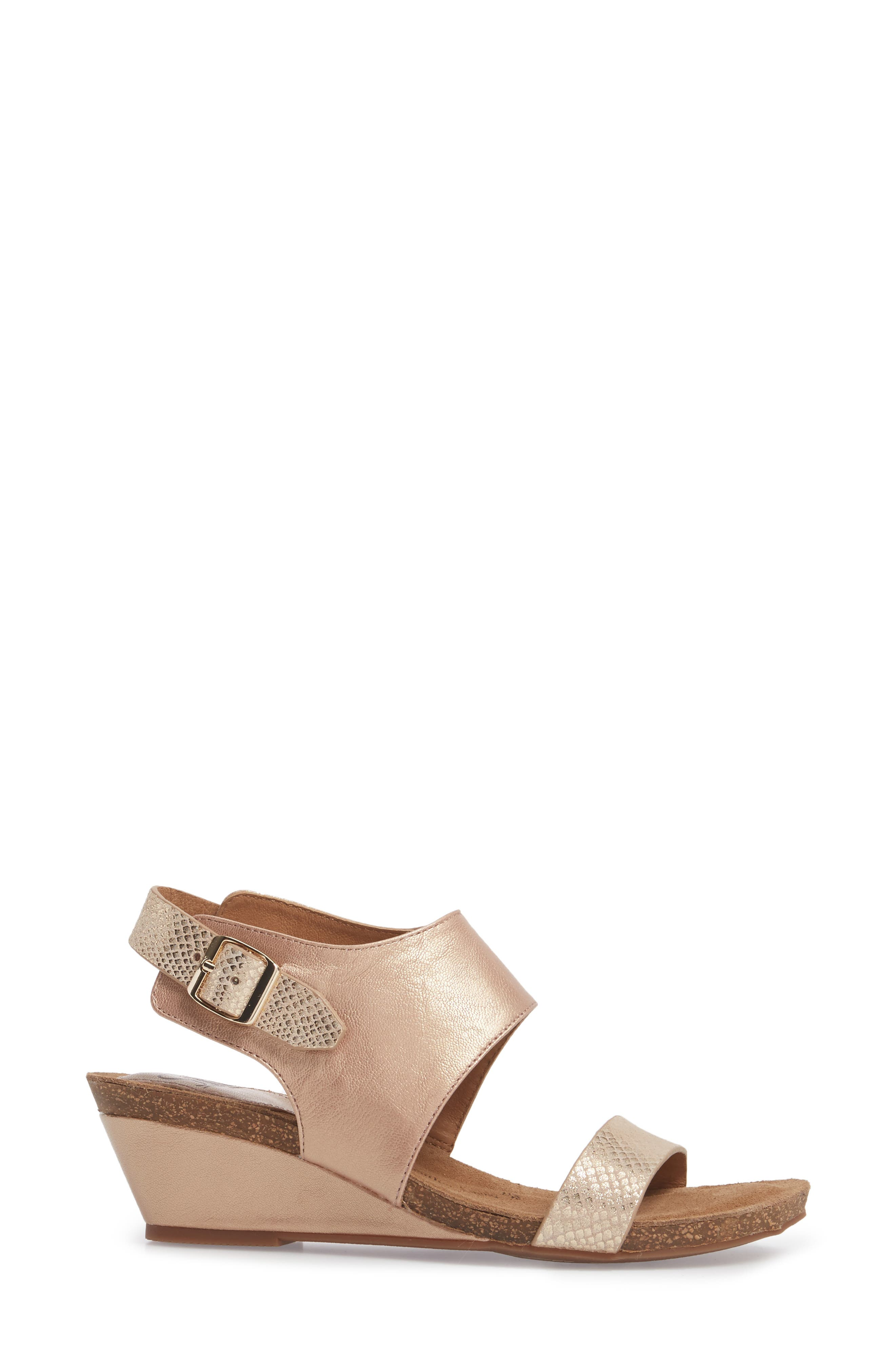 'Vanita' Leather Sandal,                             Alternate thumbnail 3, color,                             CHAMPAGNE/ GOLD LEATHER