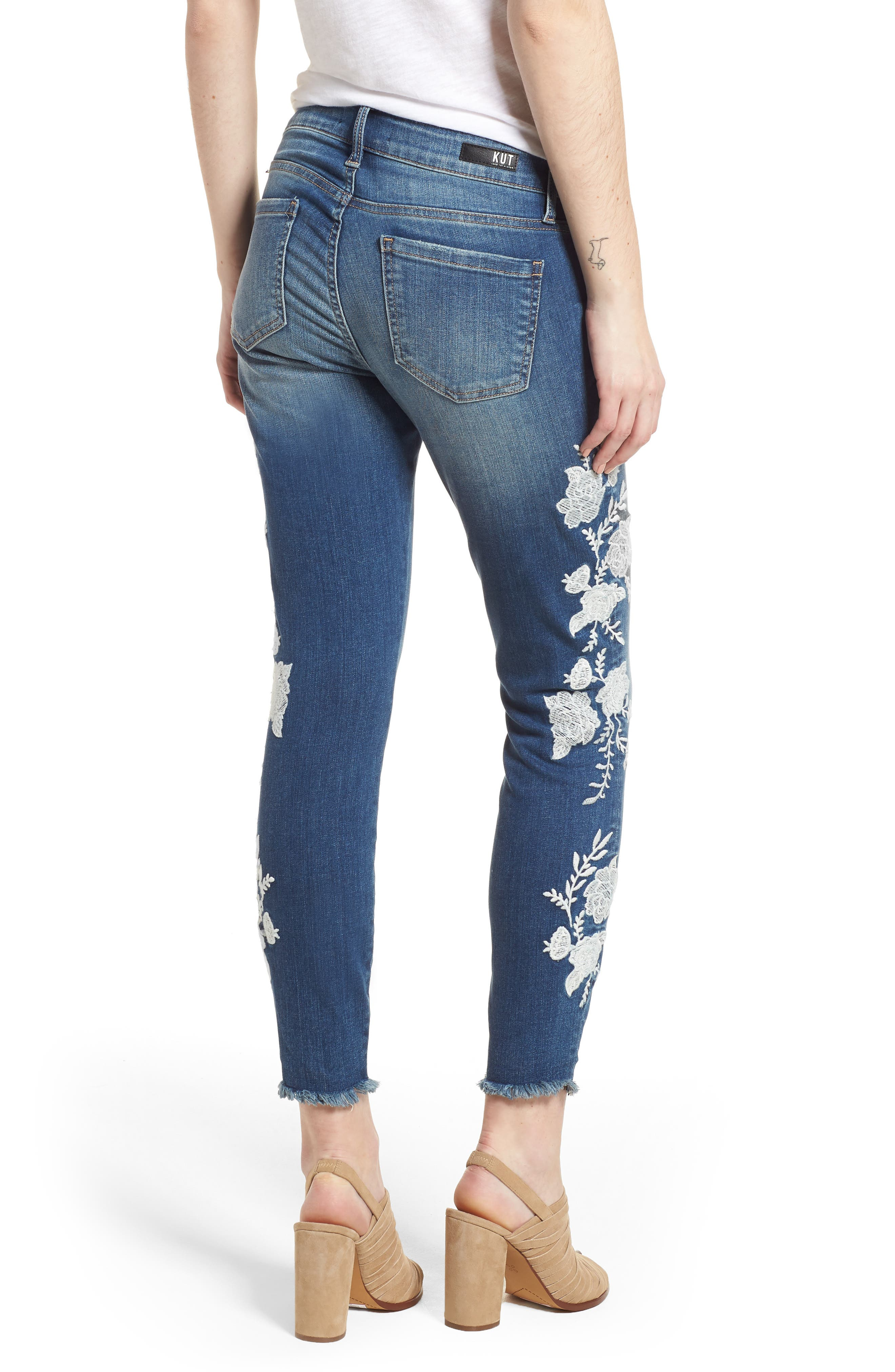 KUT from the Kloth Connie Embroidered Skinny Jeans,                             Alternate thumbnail 2, color,                             400