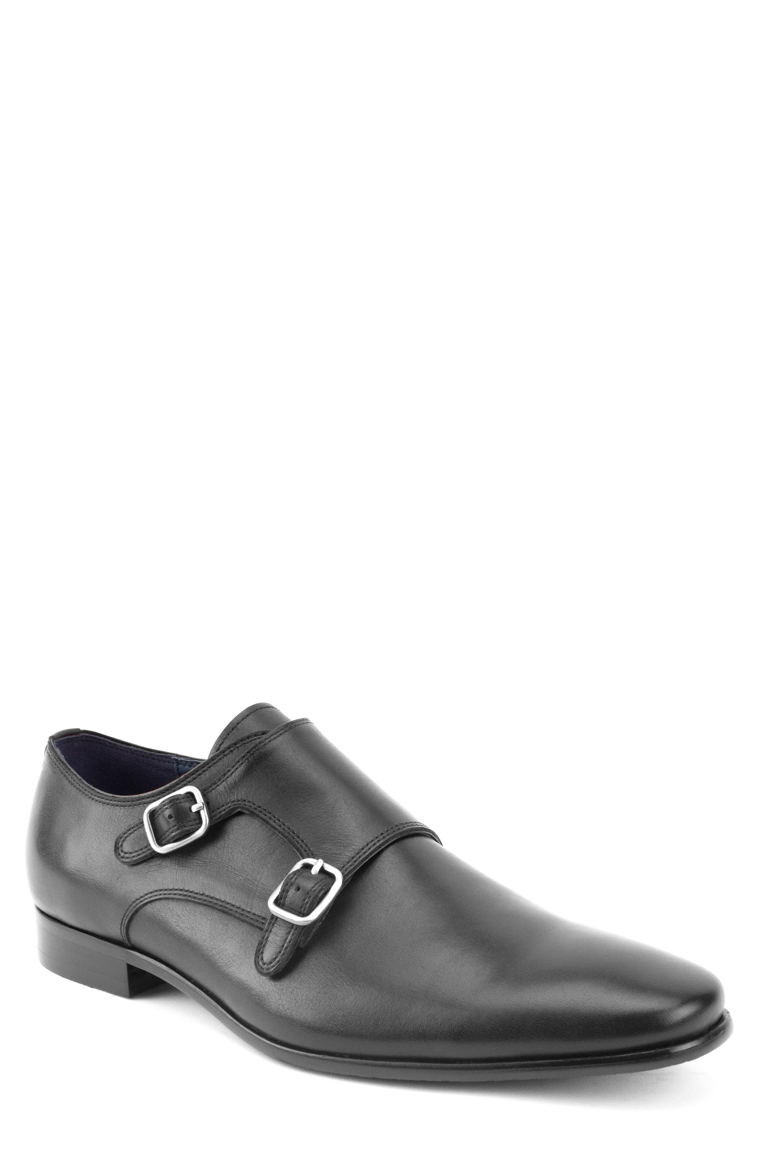 Luke Double Buckle Monk Shoe,                             Main thumbnail 1, color,                             BLACK LEATHER