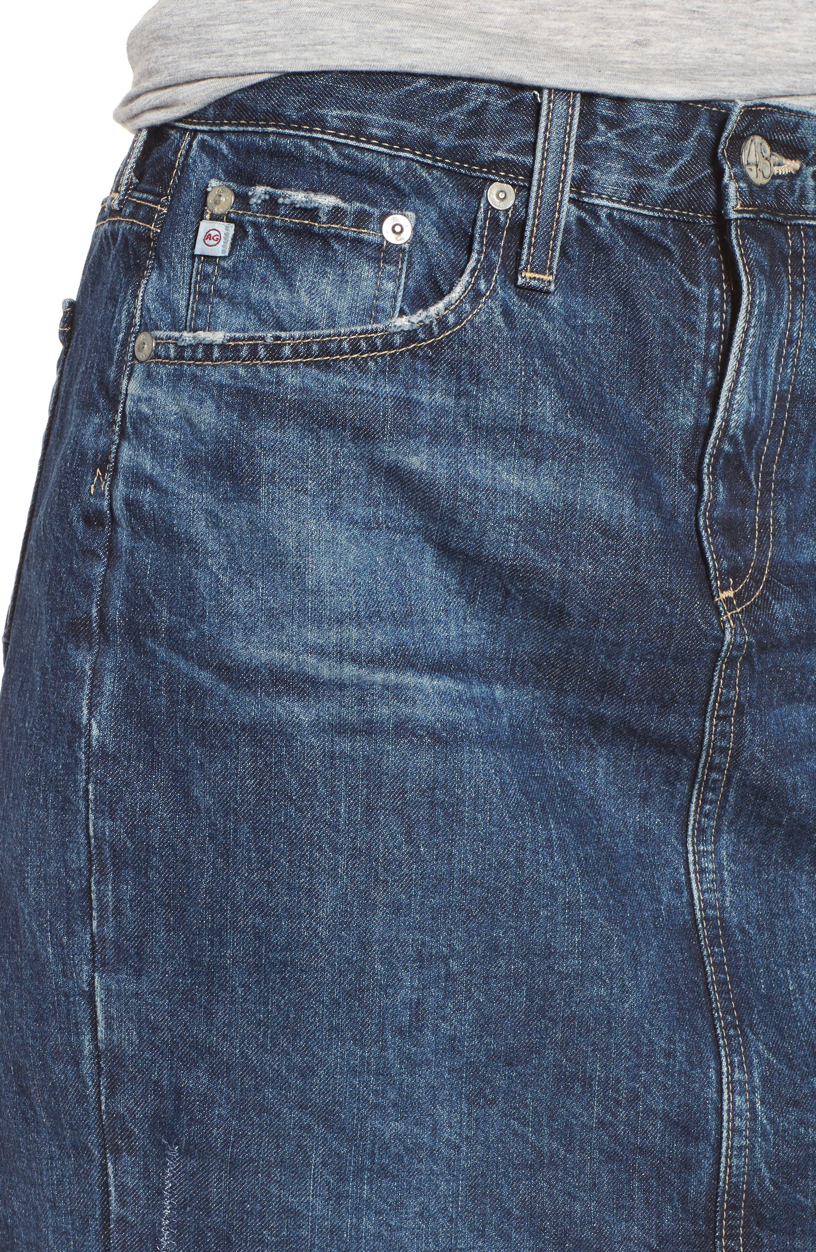 Erin Step Hem Denim Skirt,                             Alternate thumbnail 4, color,                             404