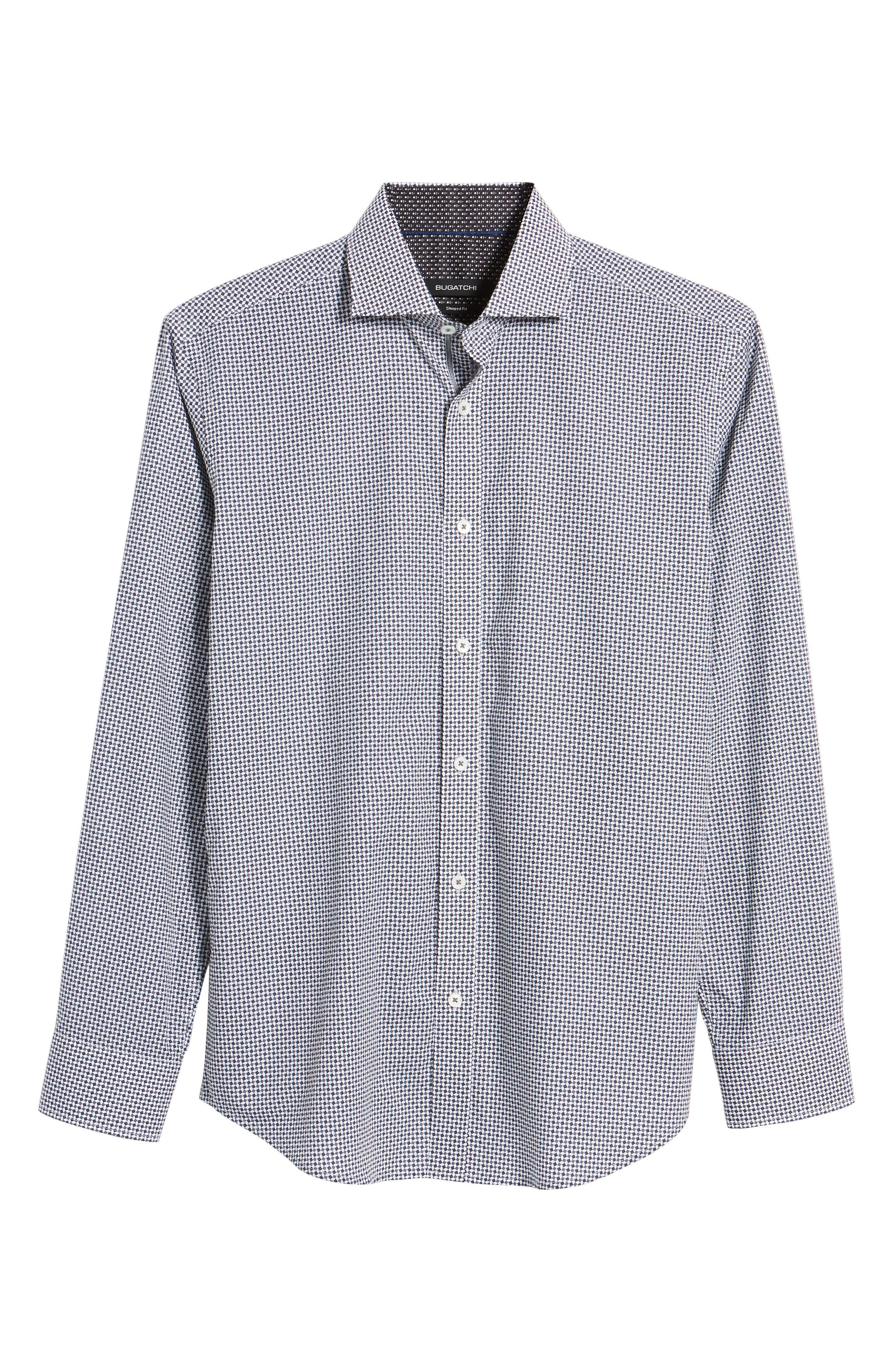 Shaped Fit Diamond Print Sport Shirt,                             Alternate thumbnail 6, color,                             020