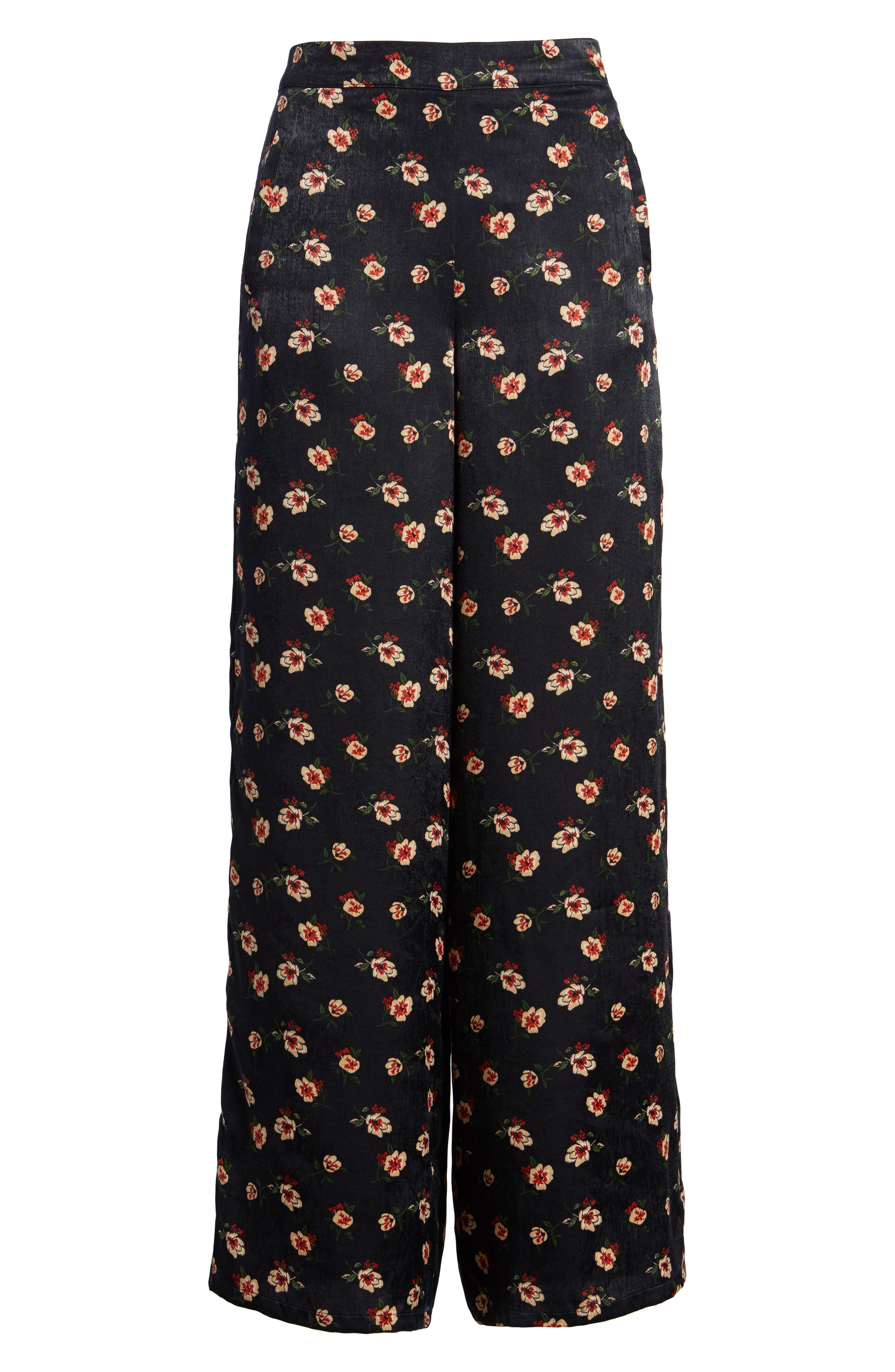 Floral Wide Leg Pants,                             Alternate thumbnail 6, color,                             498