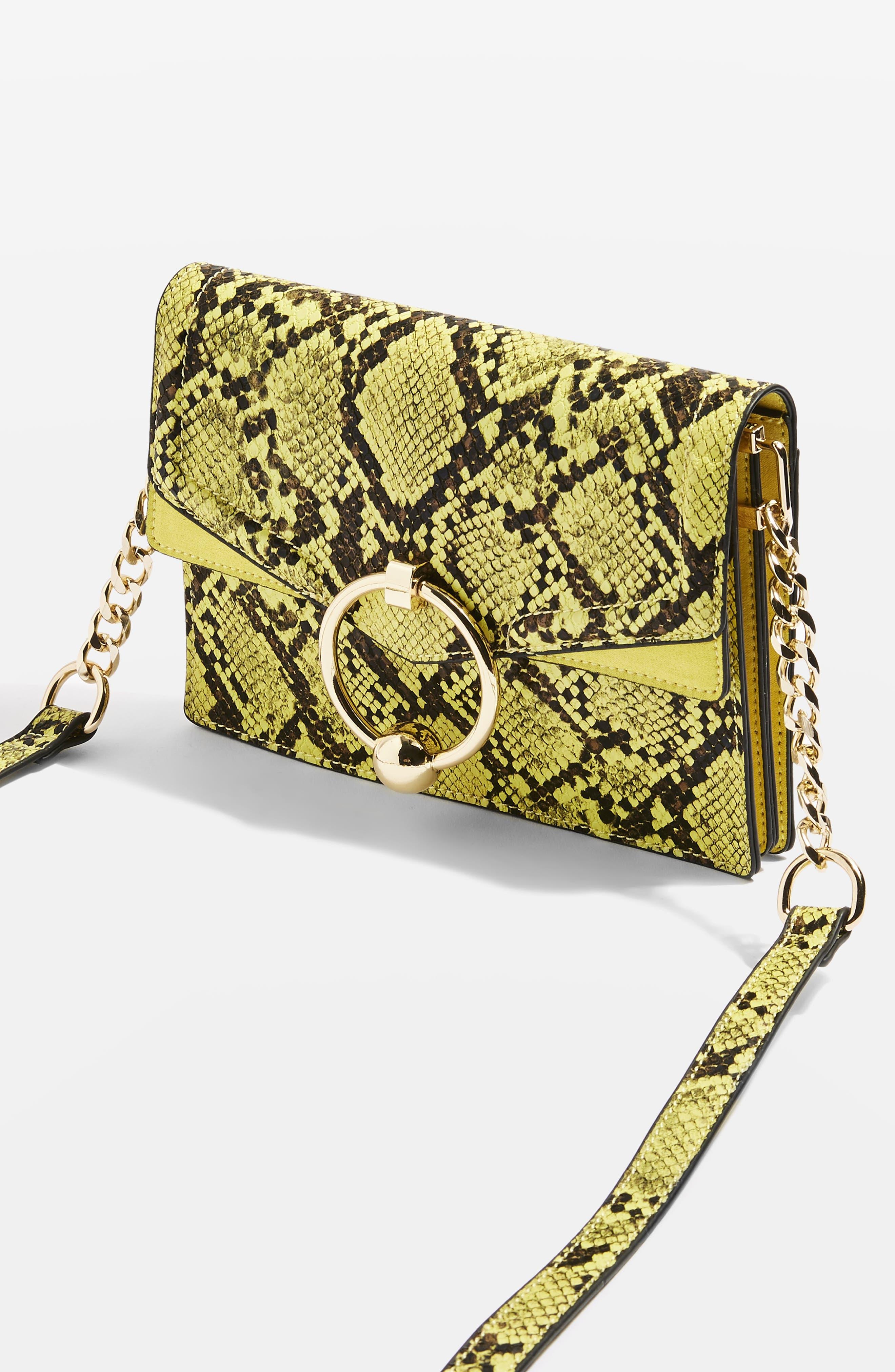 TOPSHOP,                             Selina Snake Effect Crossbody Bag,                             Alternate thumbnail 8, color,                             700