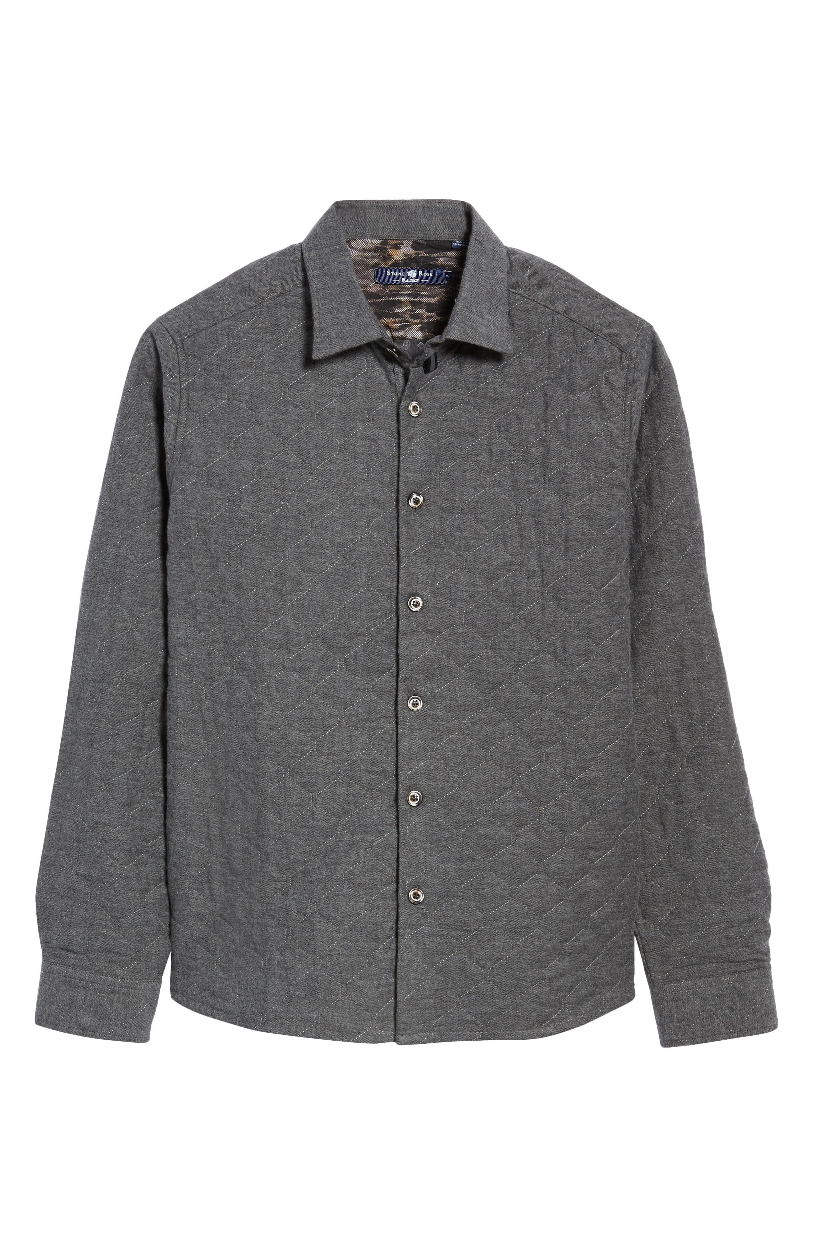 Trim Fit Quilted Shirt Jacket,                             Alternate thumbnail 6, color,                             CHARCOAL