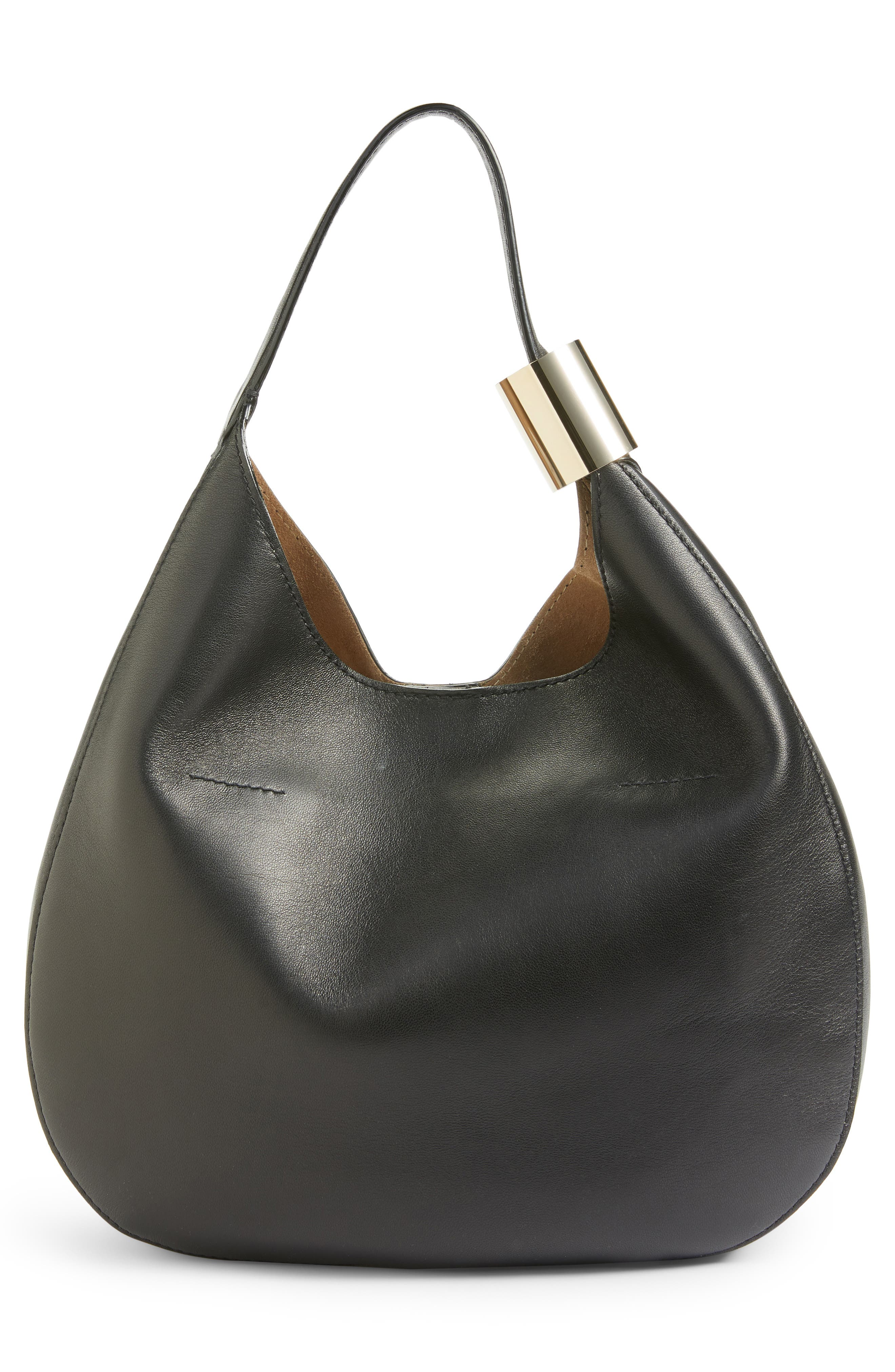 Stevie Lambskin Leather Hobo,                             Alternate thumbnail 3, color,                             BLACK