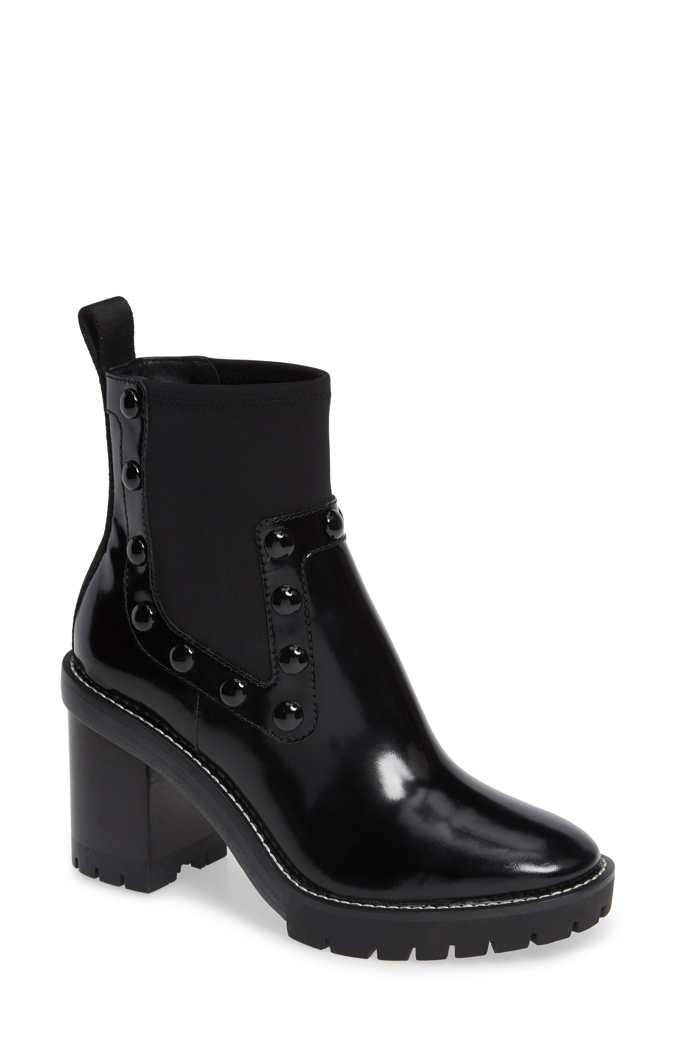 TORY BURCH,                             Preston Studded Bootie,                             Main thumbnail 1, color,                             004