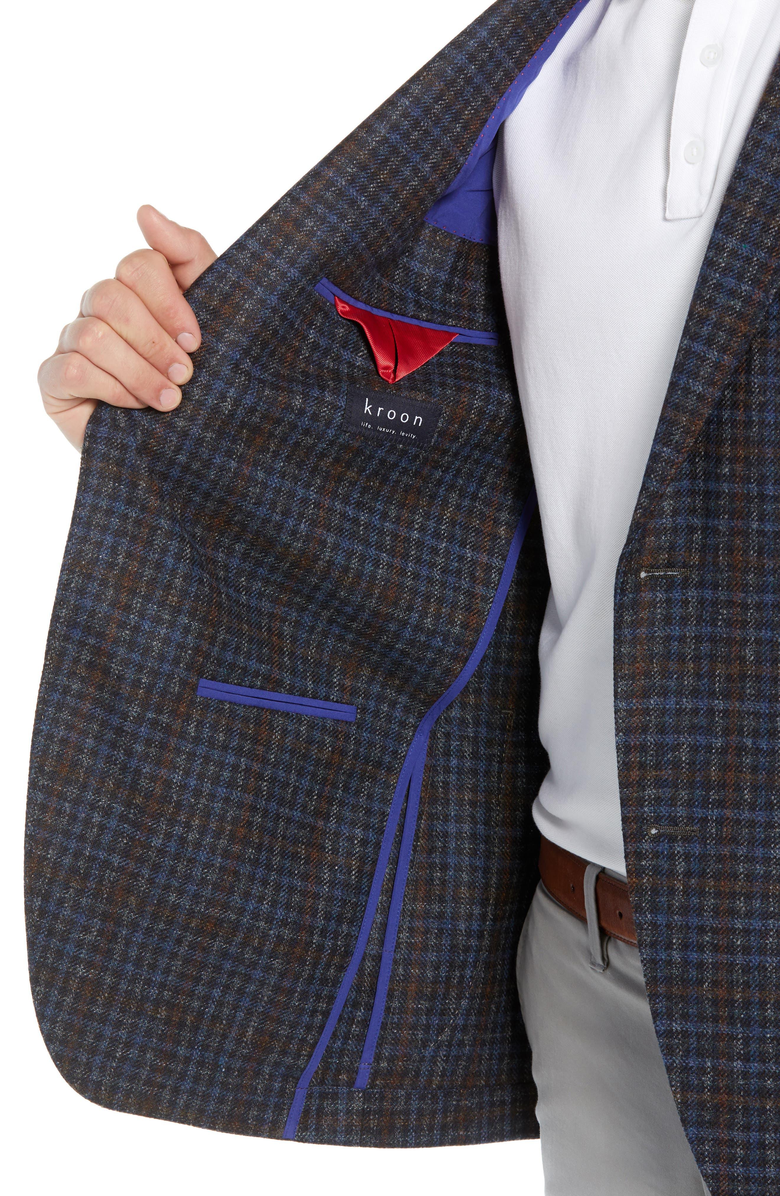 Bono 2 Classic Fit Check Wool & Cashmere Sport Coat,                             Alternate thumbnail 4, color,                             BURGUNDY