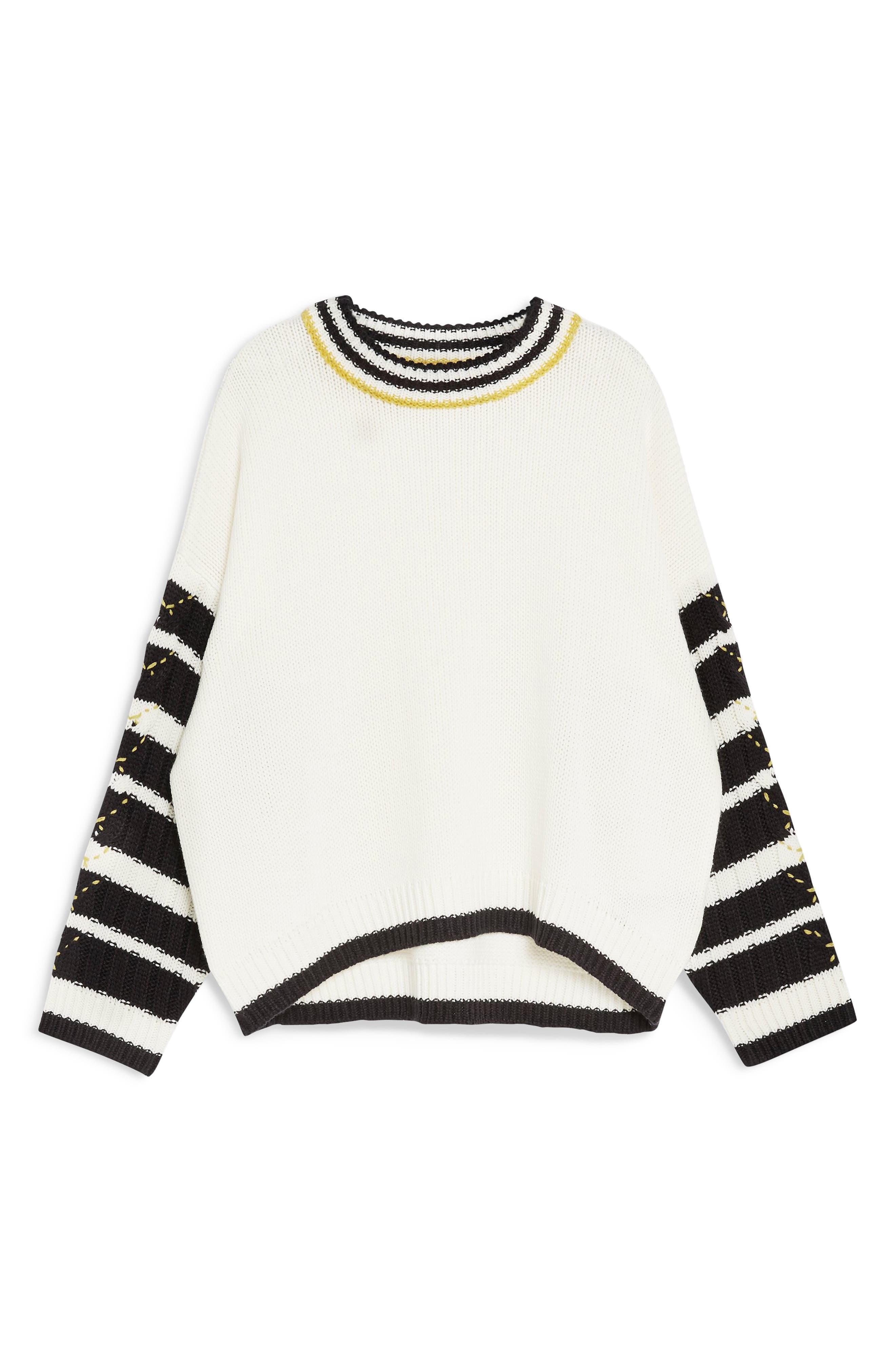 TOPSHOP,                             Whipstitch Pullover,                             Alternate thumbnail 4, color,                             IVORY MULTI