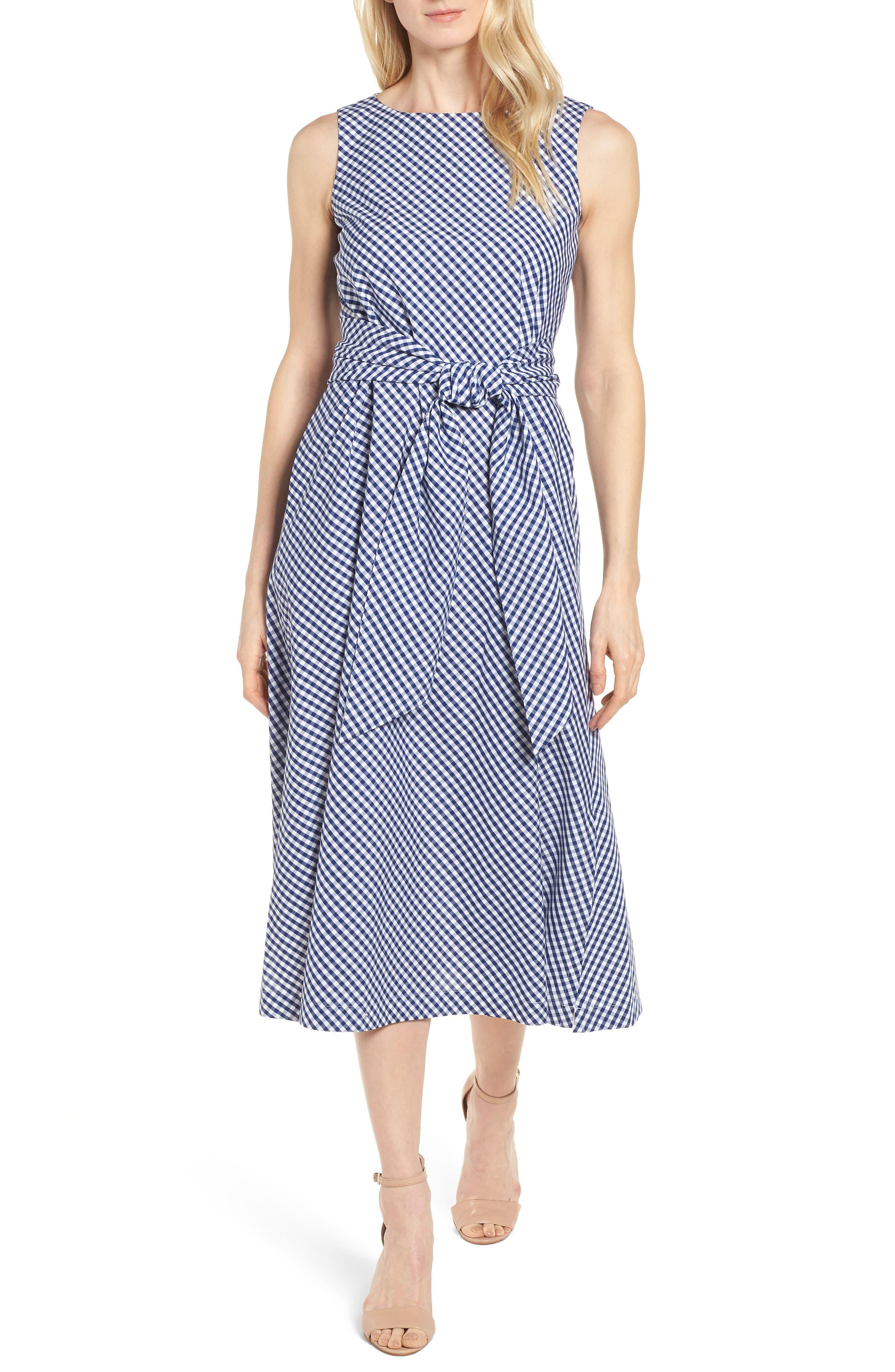 Cotton Gingham Midi Dress,                             Main thumbnail 1, color,