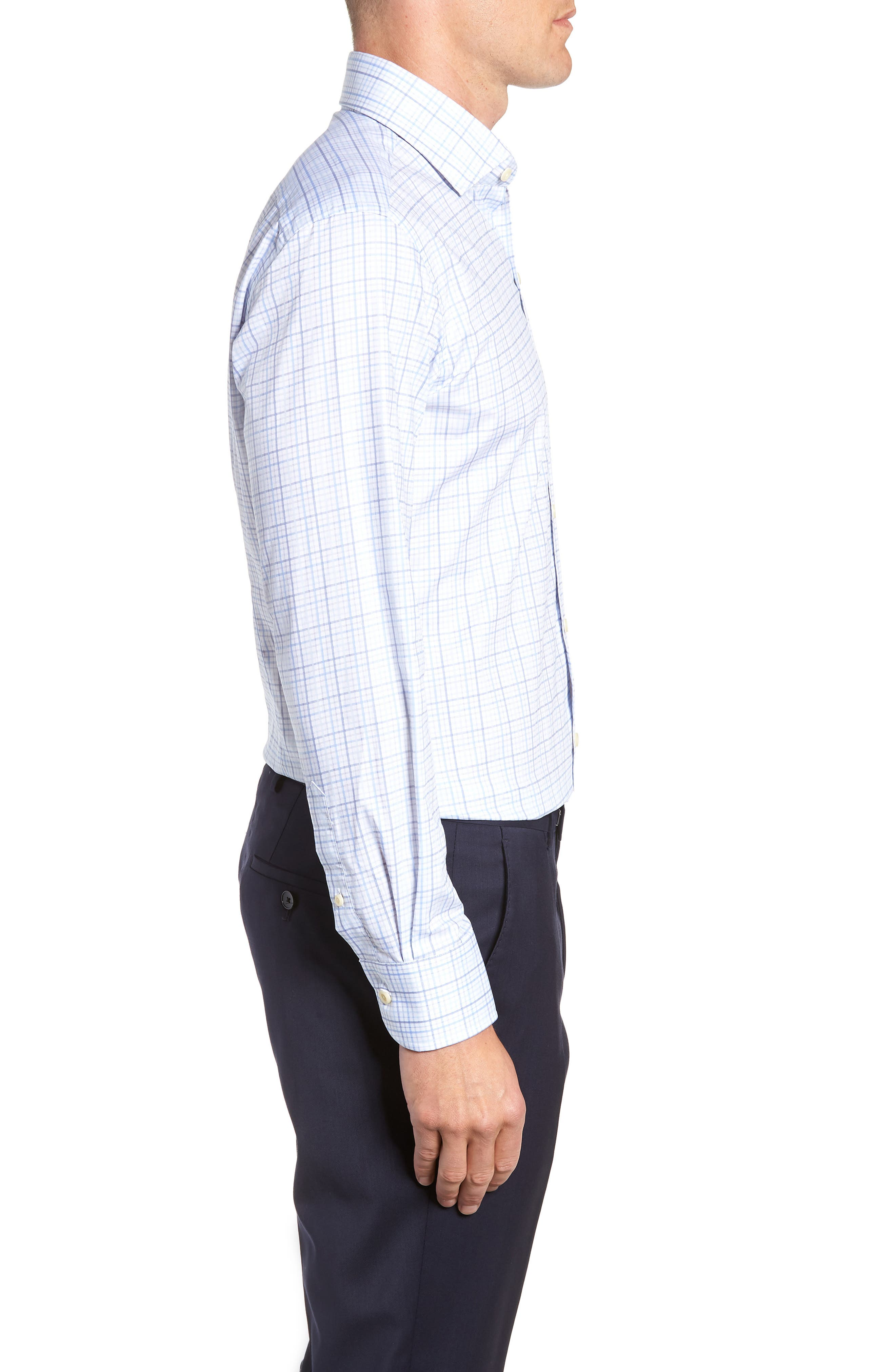 Drazin Trim Fit Check Dress Shirt,                             Alternate thumbnail 4, color,                             BLUE