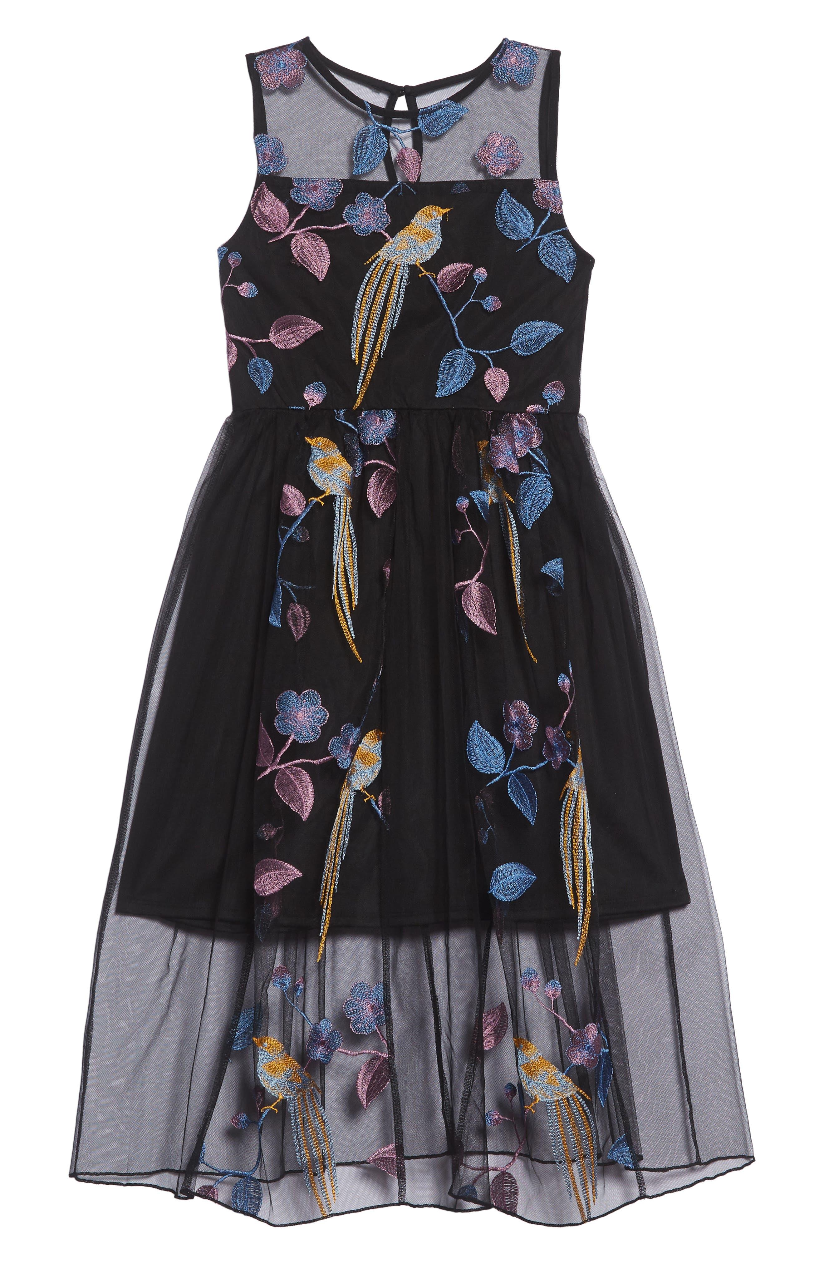 Embroidered Bird Maxi Dress,                             Main thumbnail 1, color,                             BLACK