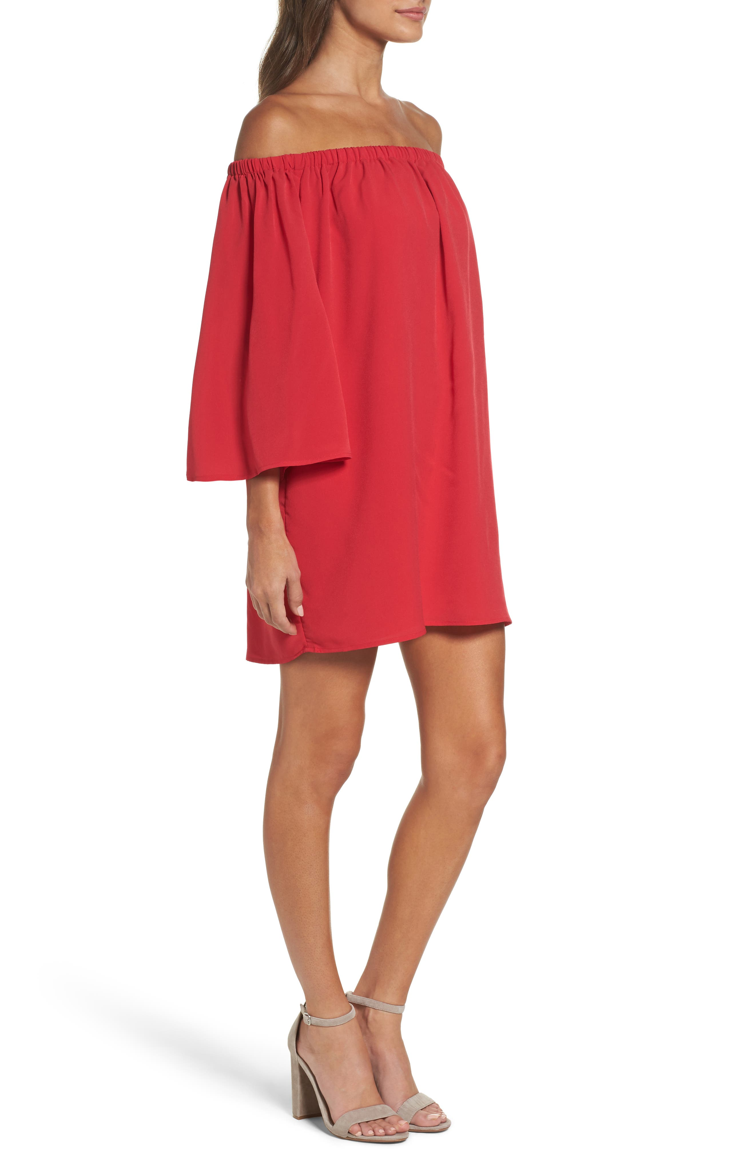 Polly Off the Shoulder Dress,                             Alternate thumbnail 3, color,                             672