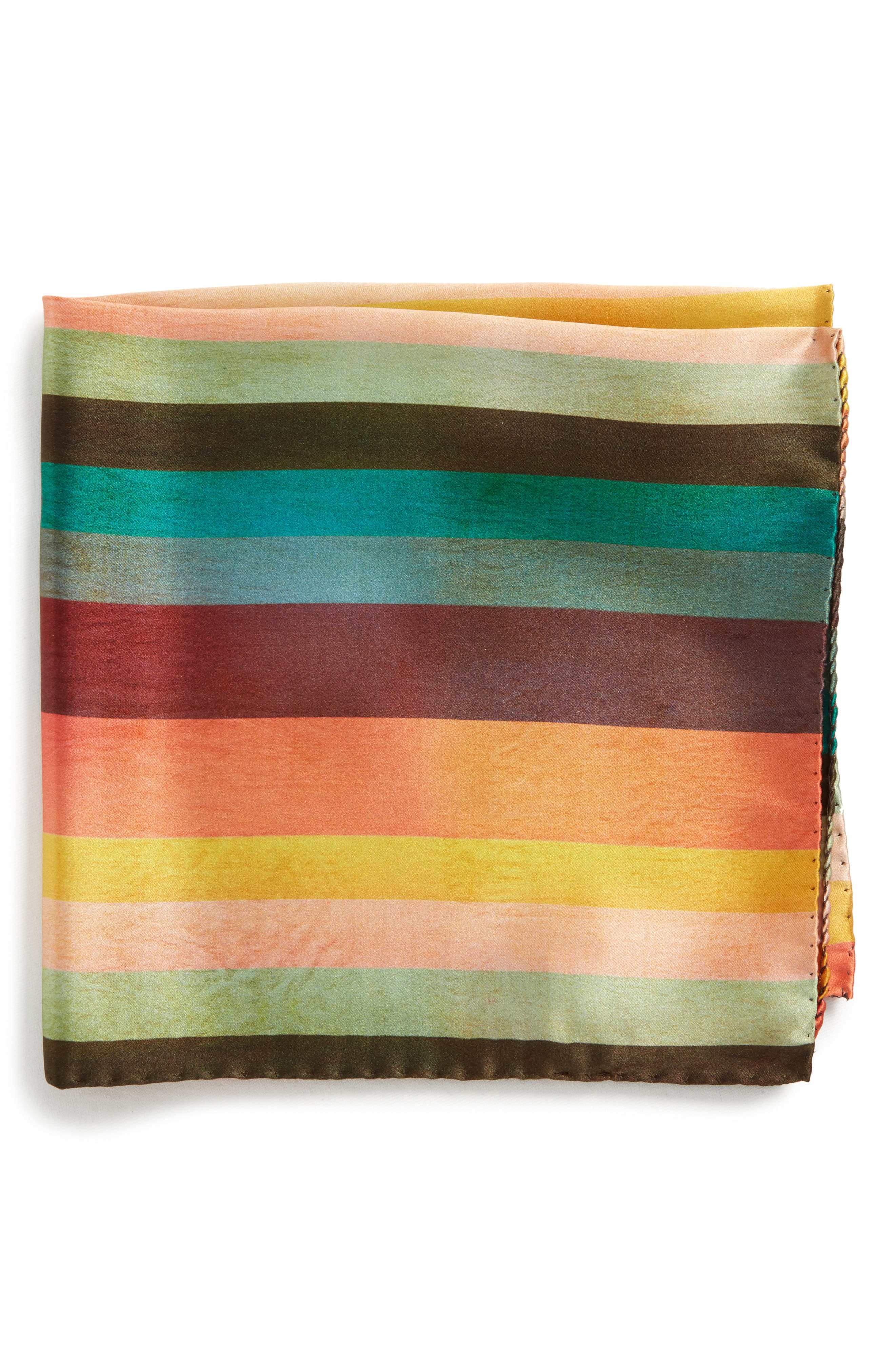 Artist Stripe Silk Pocket Square,                             Main thumbnail 1, color,                             WHITE