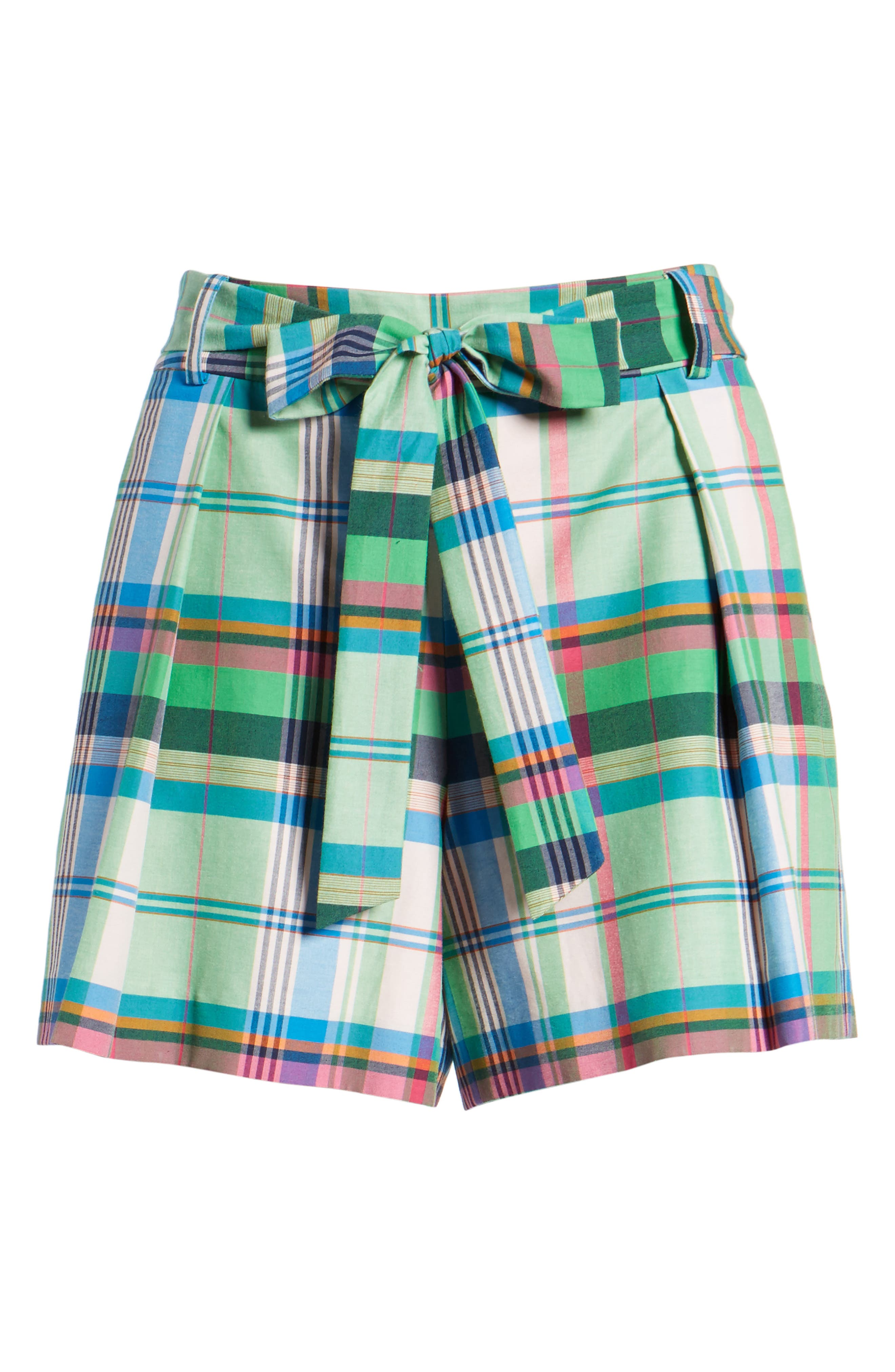 Pleated Plaid Shorts,                             Alternate thumbnail 6, color,                             330