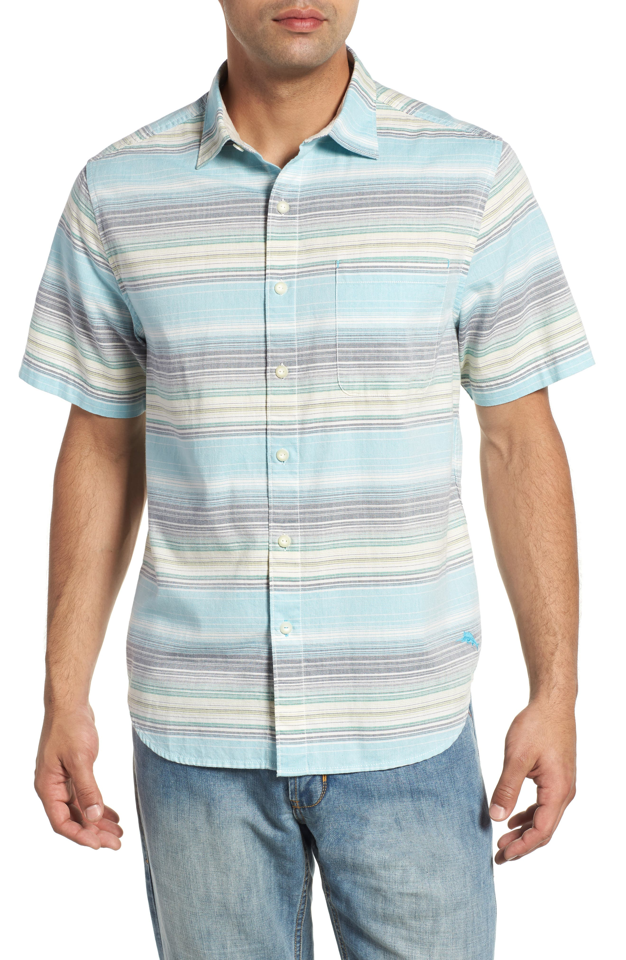 Somara Stripe Sport Shirt,                         Main,                         color, AQUA MIST