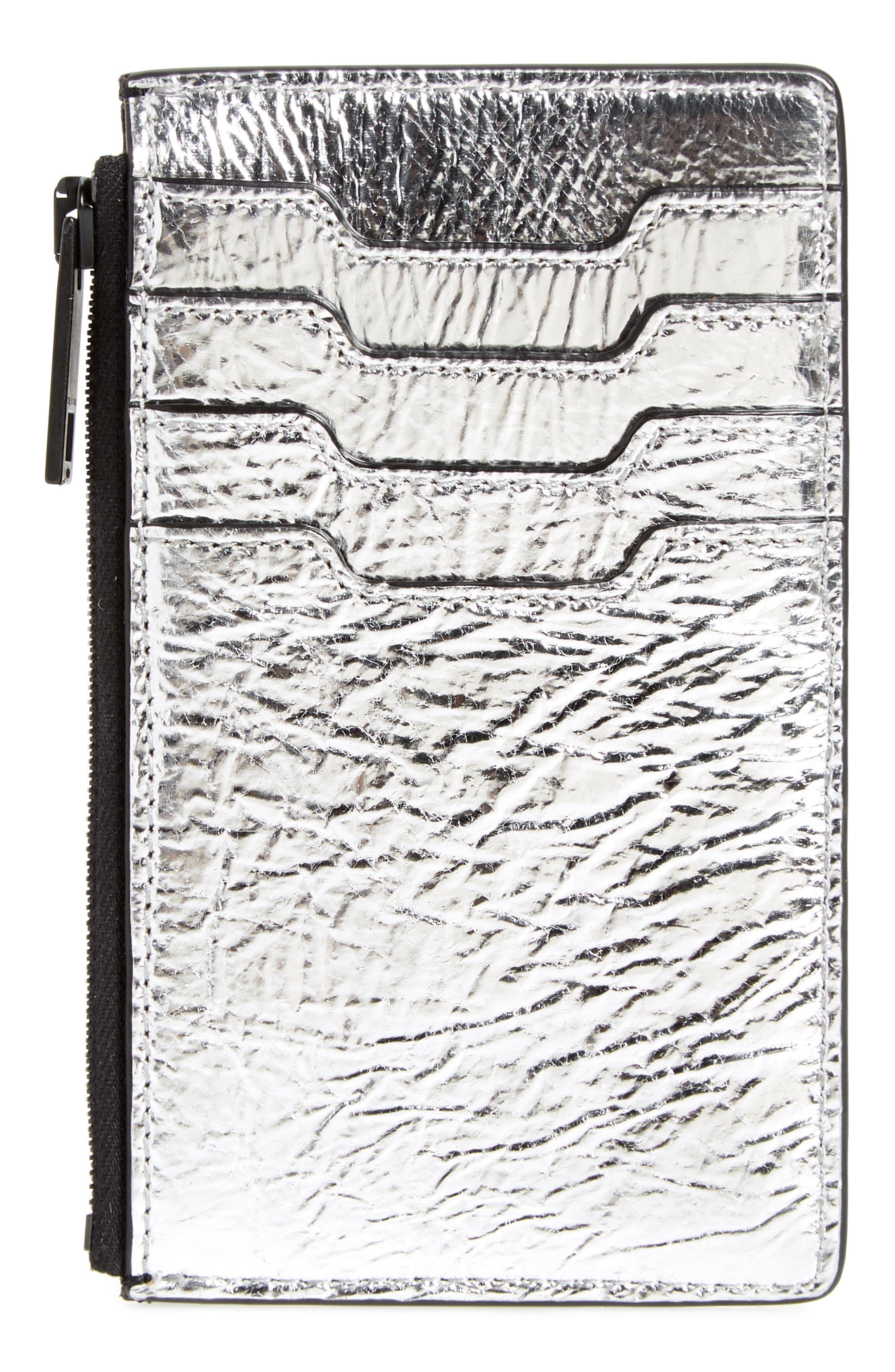 metallic leather card case,                             Alternate thumbnail 2, color,
