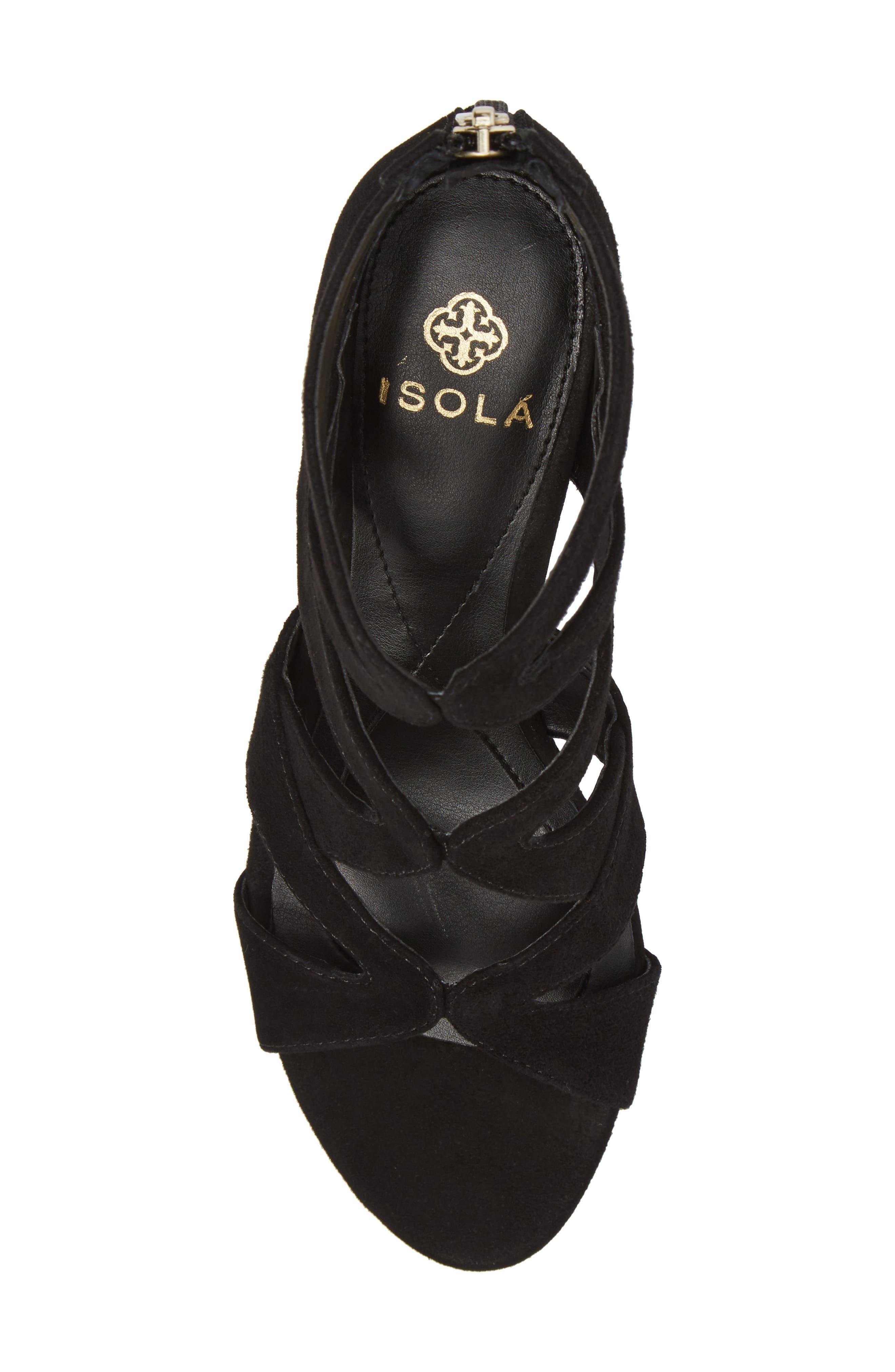 Filisha Wedge Sandal,                             Alternate thumbnail 5, color,                             BLACK SUEDE