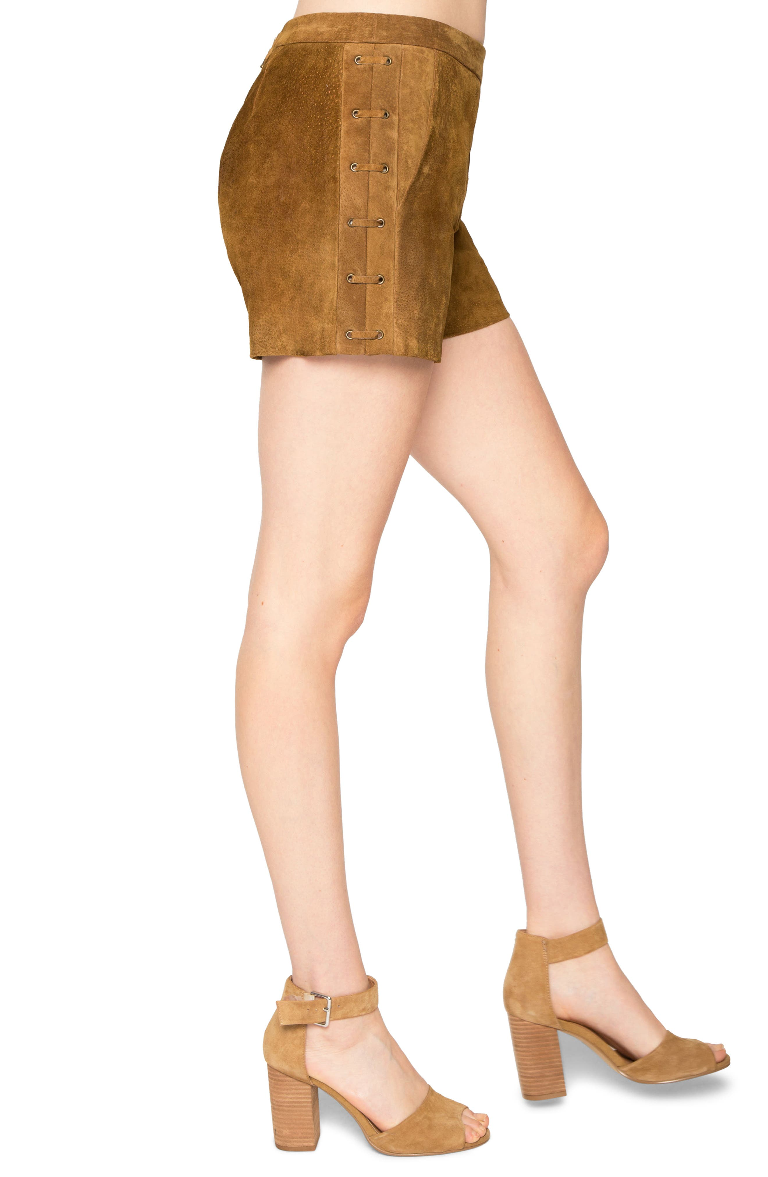 Side Lace-Up Suede Shorts,                             Alternate thumbnail 3, color,                             230