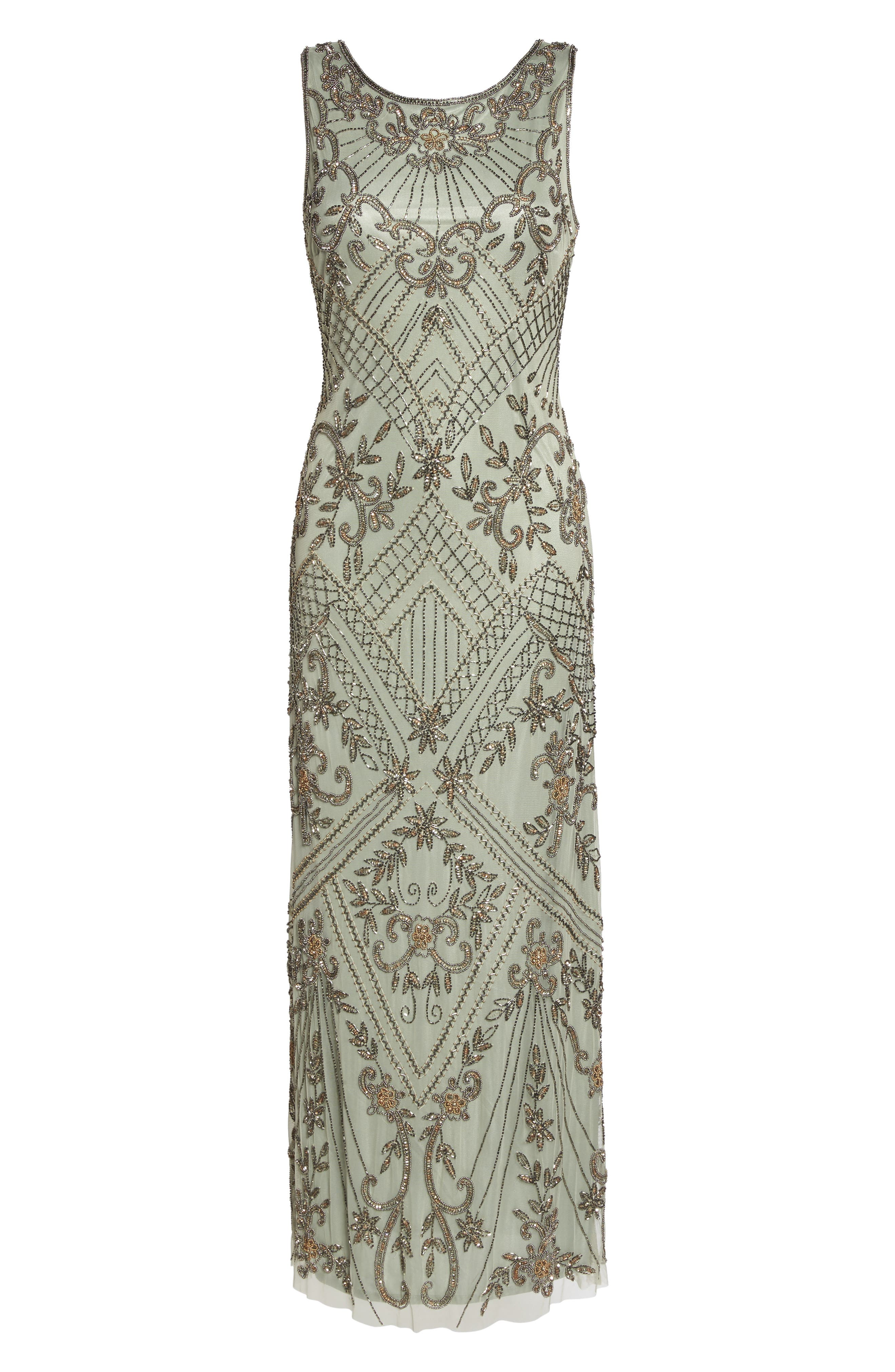 Embellished Mesh Gown,                             Alternate thumbnail 6, color,                             302
