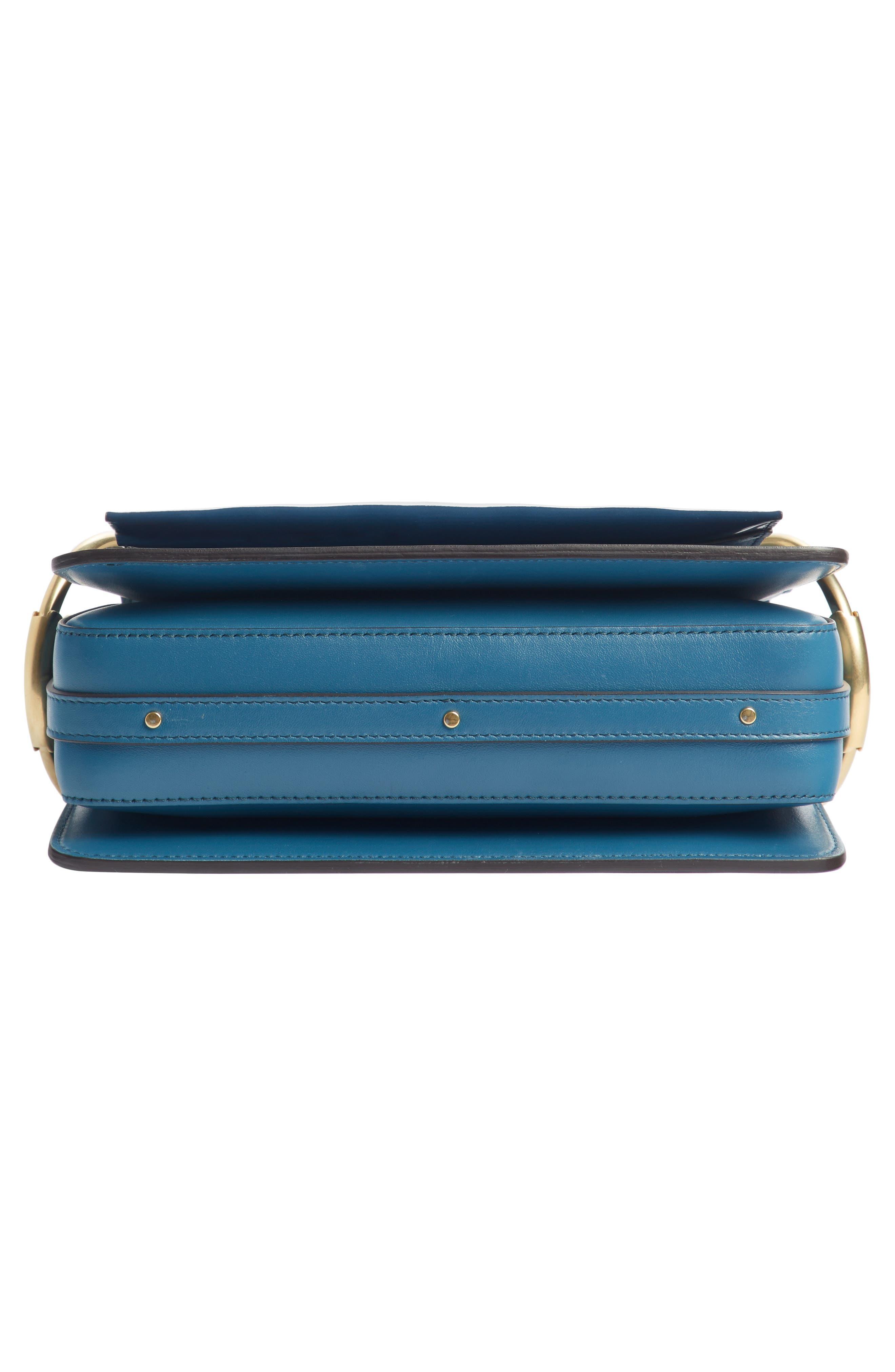 Small Roy Leather Shoulder Bag,                             Alternate thumbnail 5, color,                             VINYL BLUE