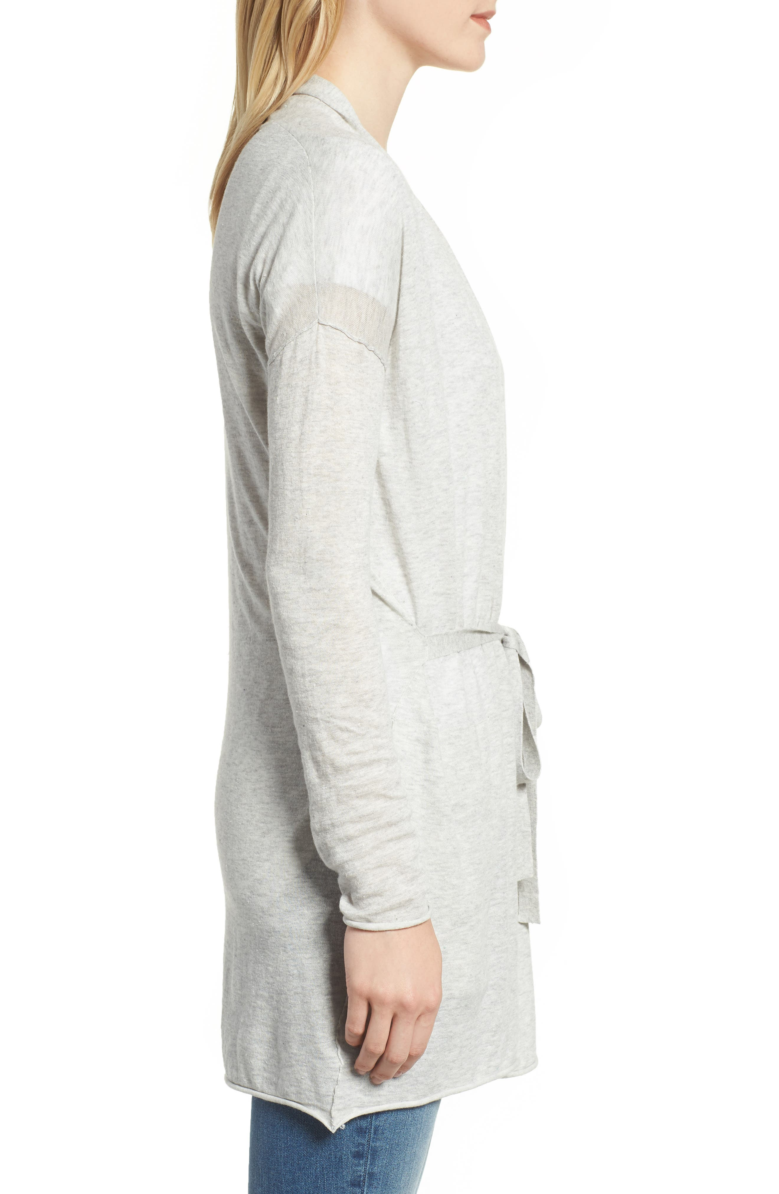 Belted Cotton Cardigan,                             Alternate thumbnail 3, color,                             HEATHER GREY