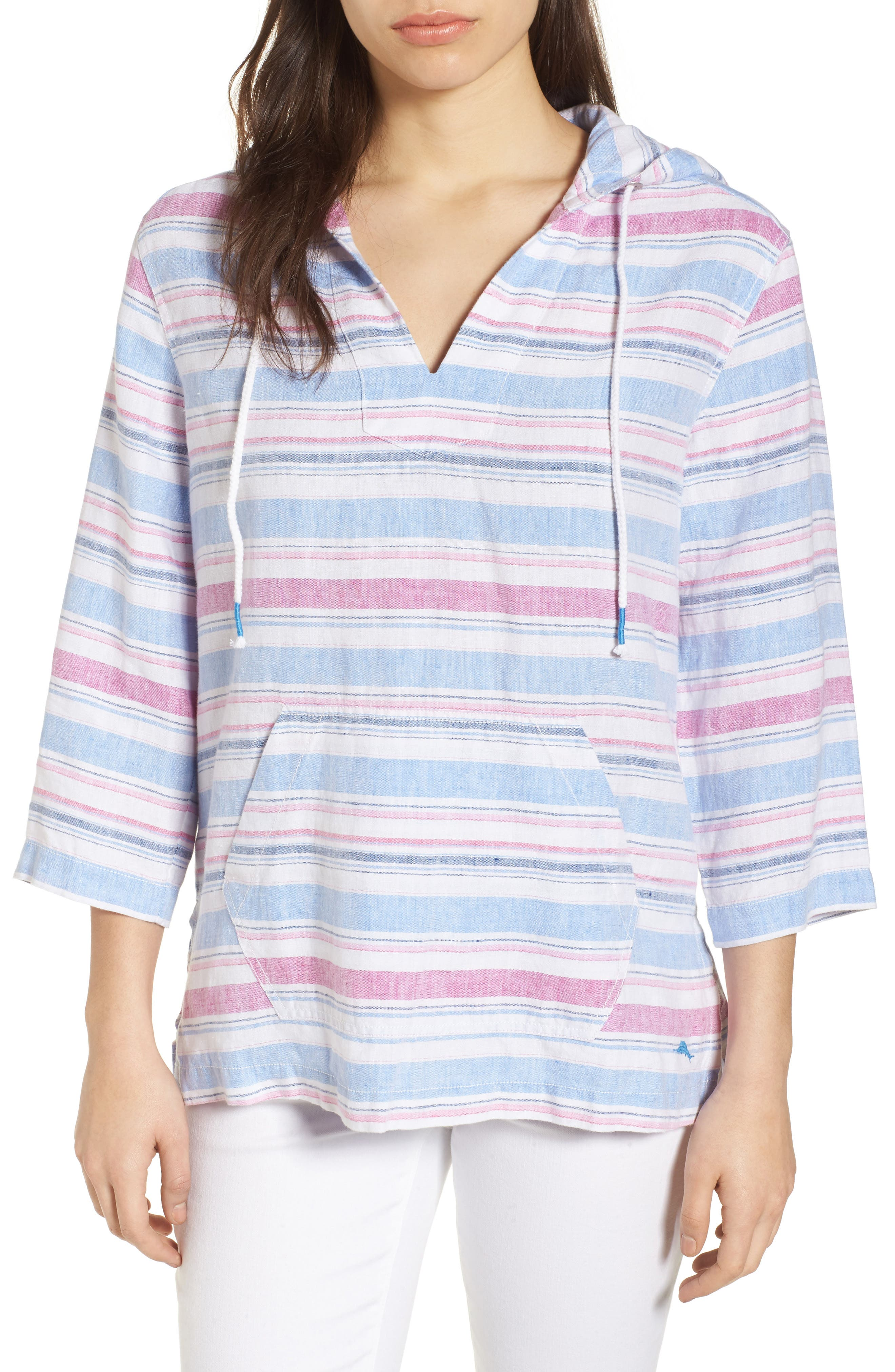 Tulum Stripe Linen Hoodie,                             Main thumbnail 1, color,                             MOUNTAIN BLUEBELL