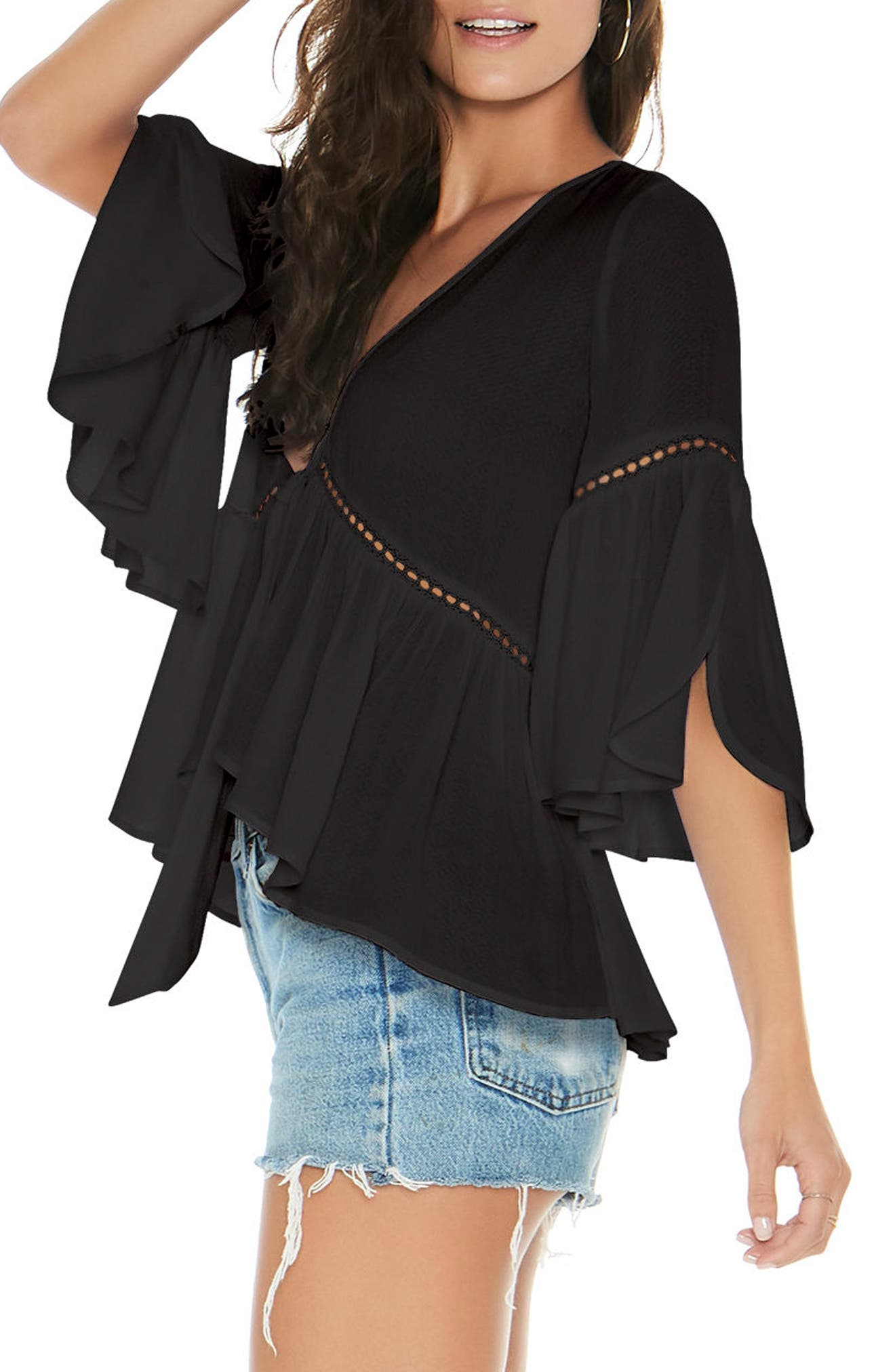 Lilly Tie Front Top,                             Alternate thumbnail 3, color,                             BLACK