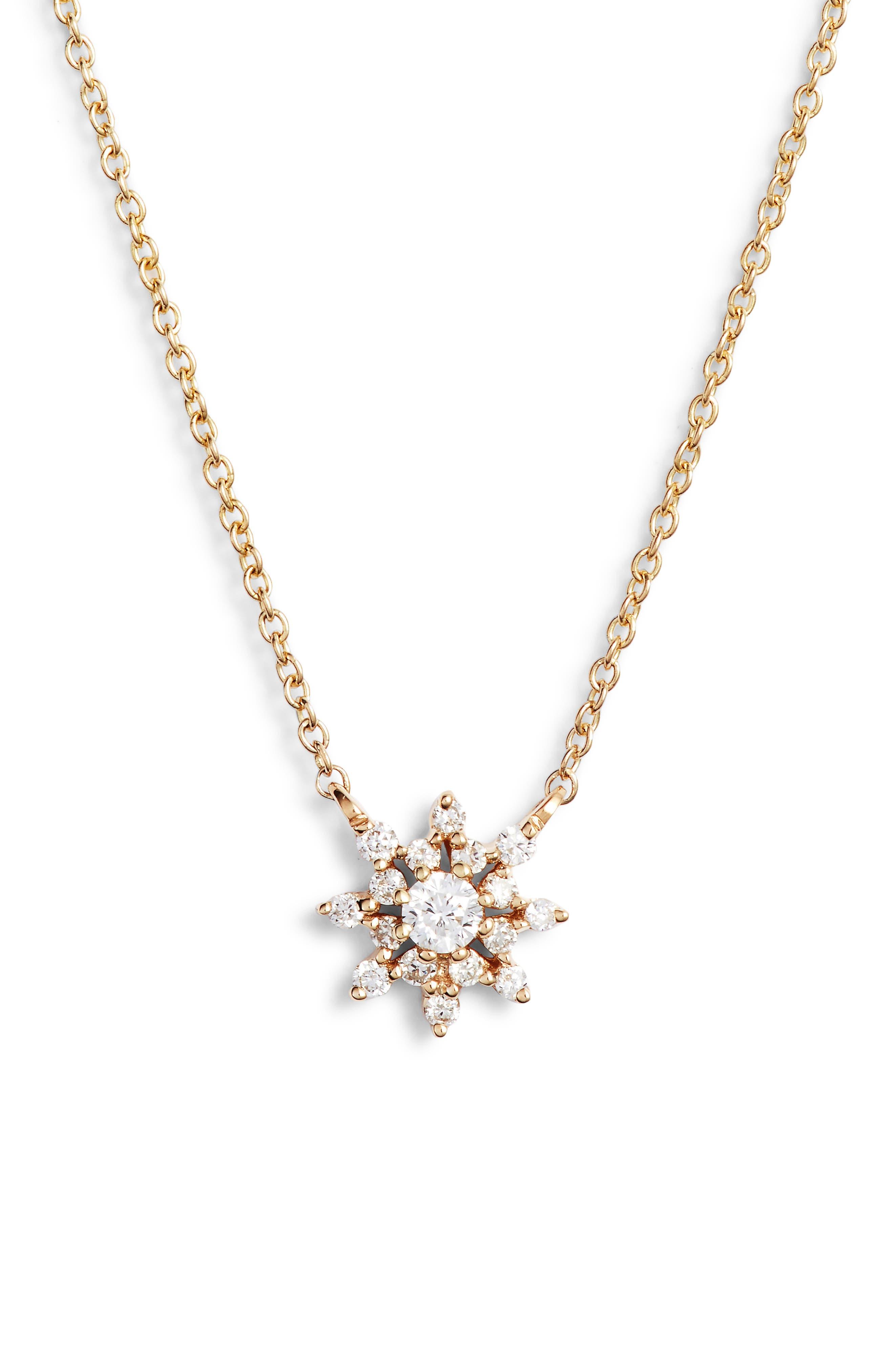 Dana Rebecca Jennifer Yamina Flower Necklace,                             Main thumbnail 1, color,                             YELLOW GOLD