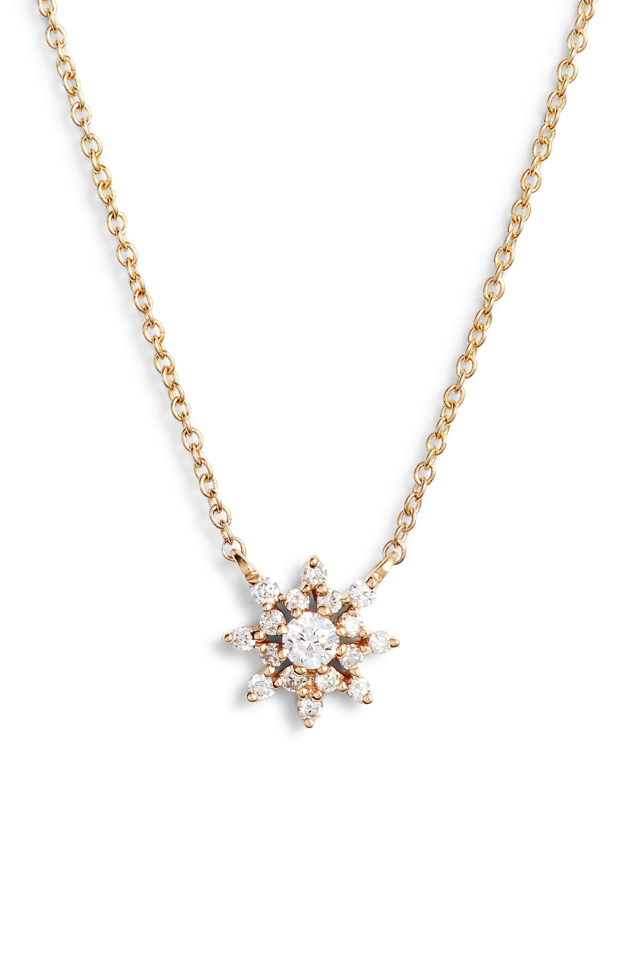 Dana Rebecca Jennifer Yamina Flower Necklace, Main, color, YELLOW GOLD