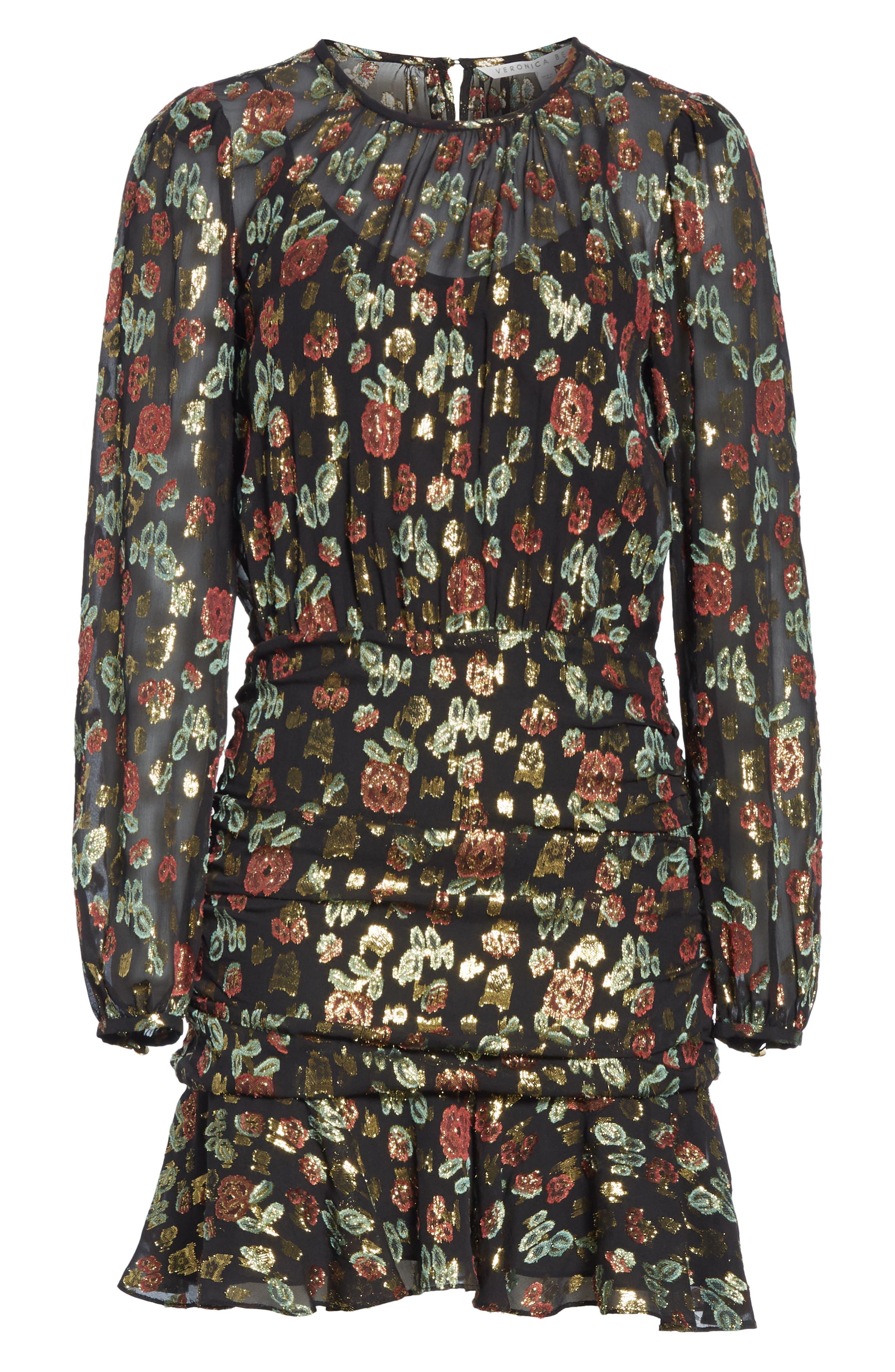 Robin Silk Blend Jacquard Minidress,                             Alternate thumbnail 6, color,                             001