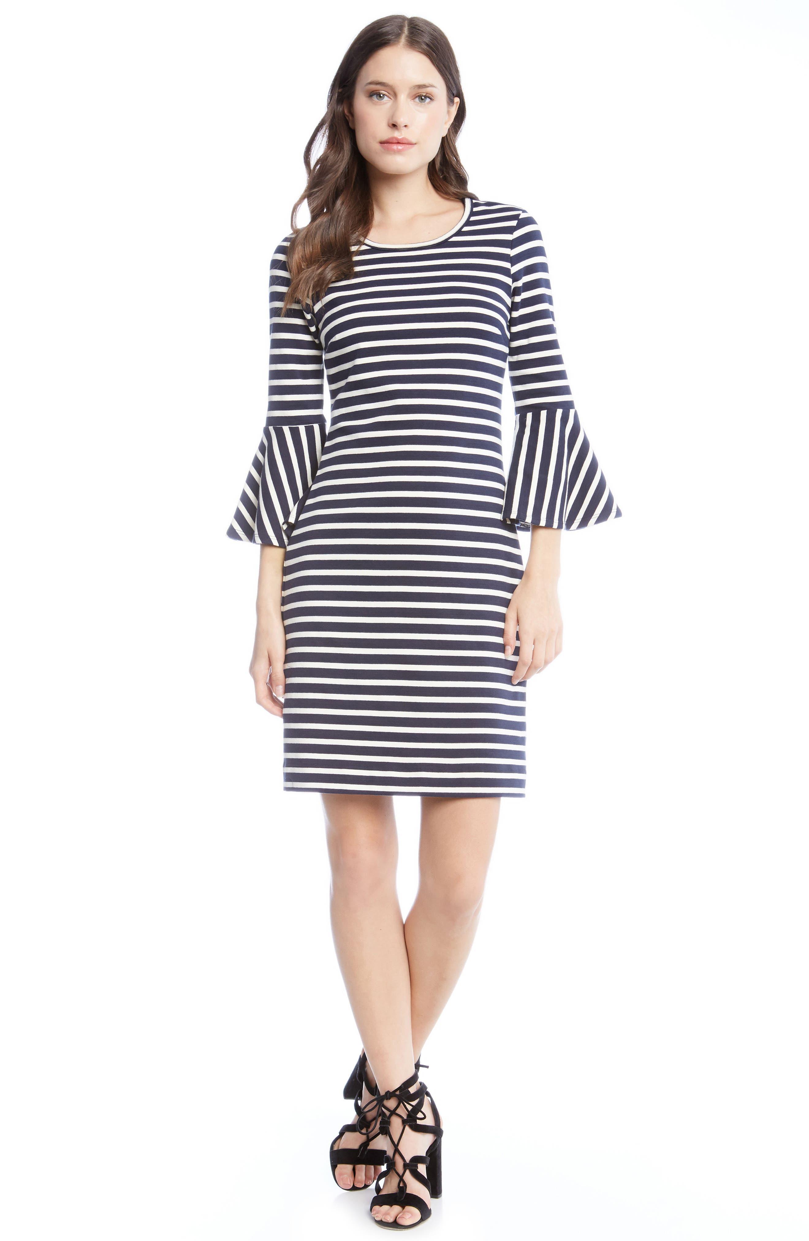 Flare Sleeve Stripe Dress,                             Alternate thumbnail 3, color,                             001