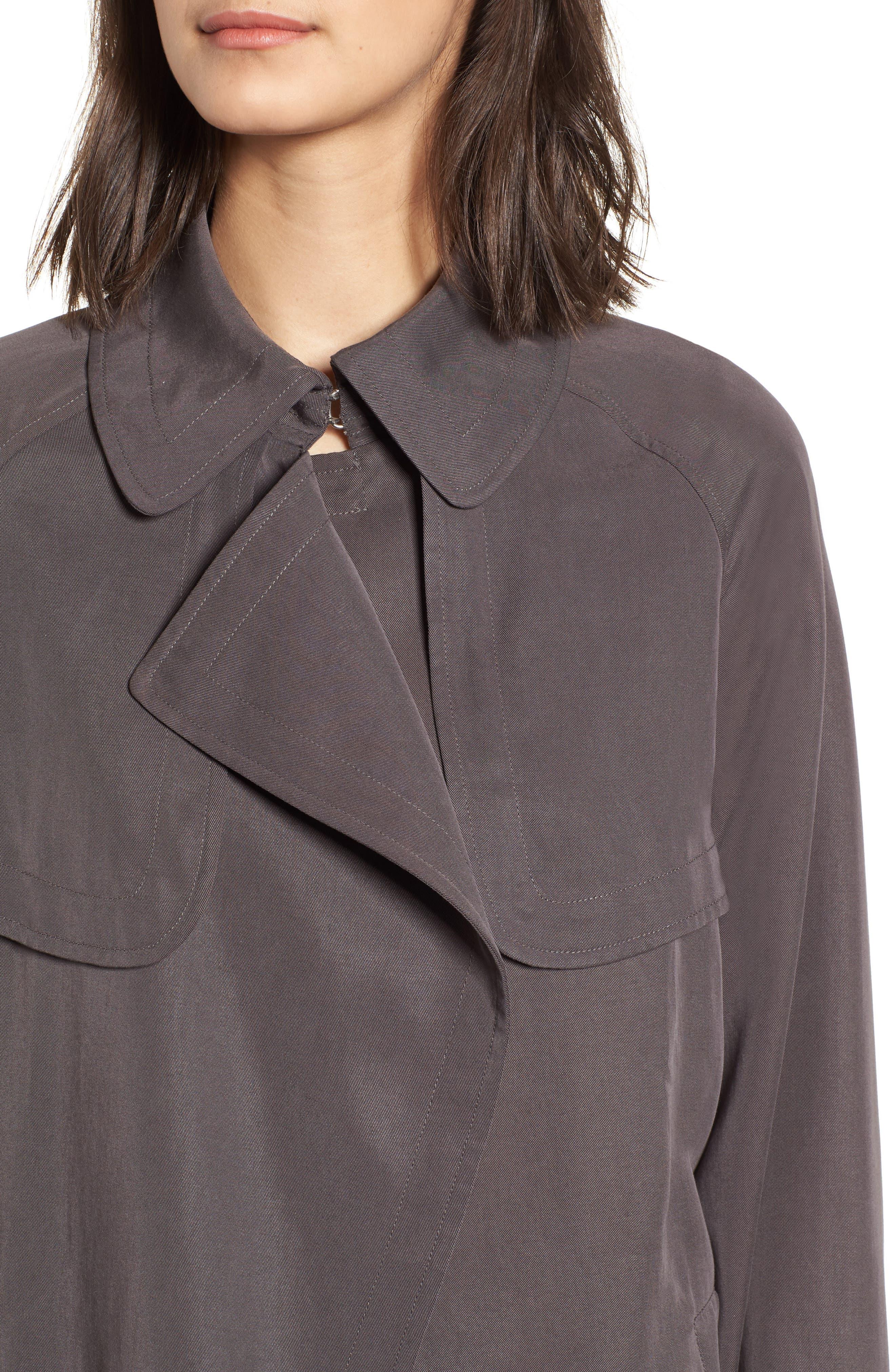 Ella Drape Trench Coat,                             Alternate thumbnail 4, color,                             020