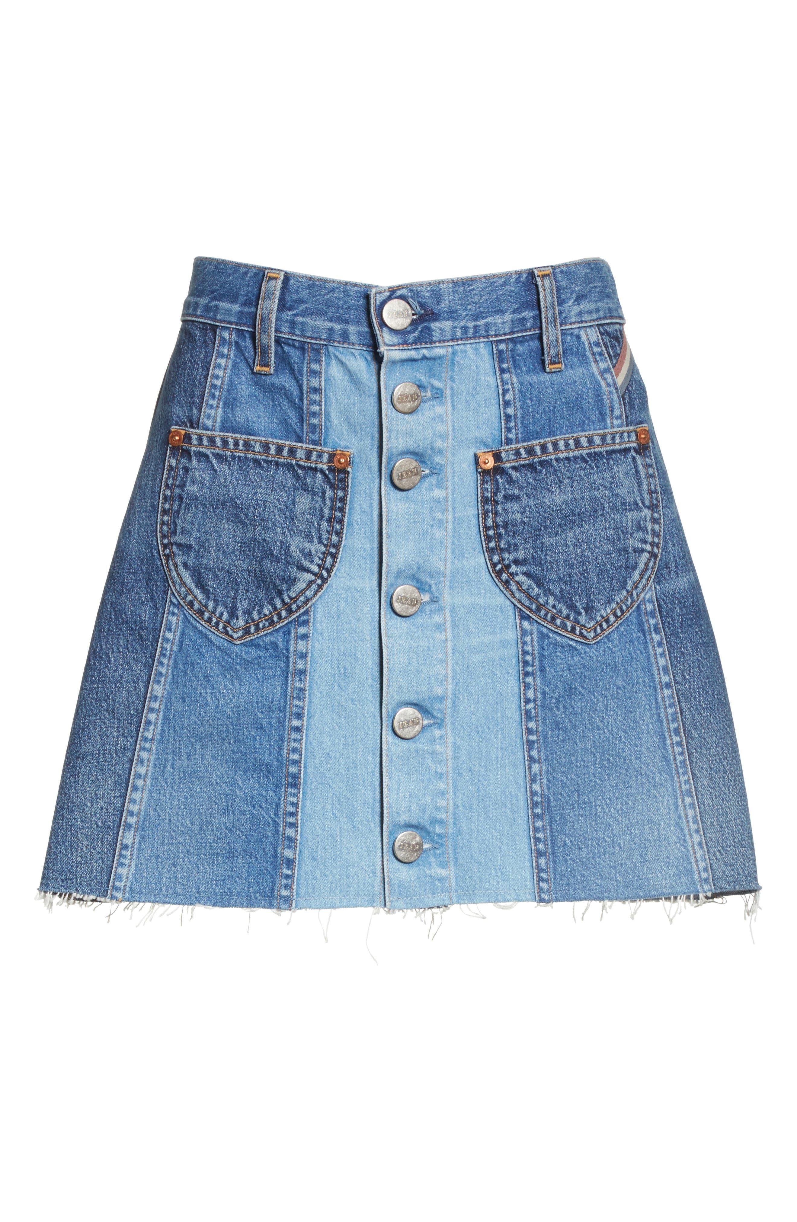 Eloise High Rise Denim Miniskirt,                             Alternate thumbnail 6, color,                             424