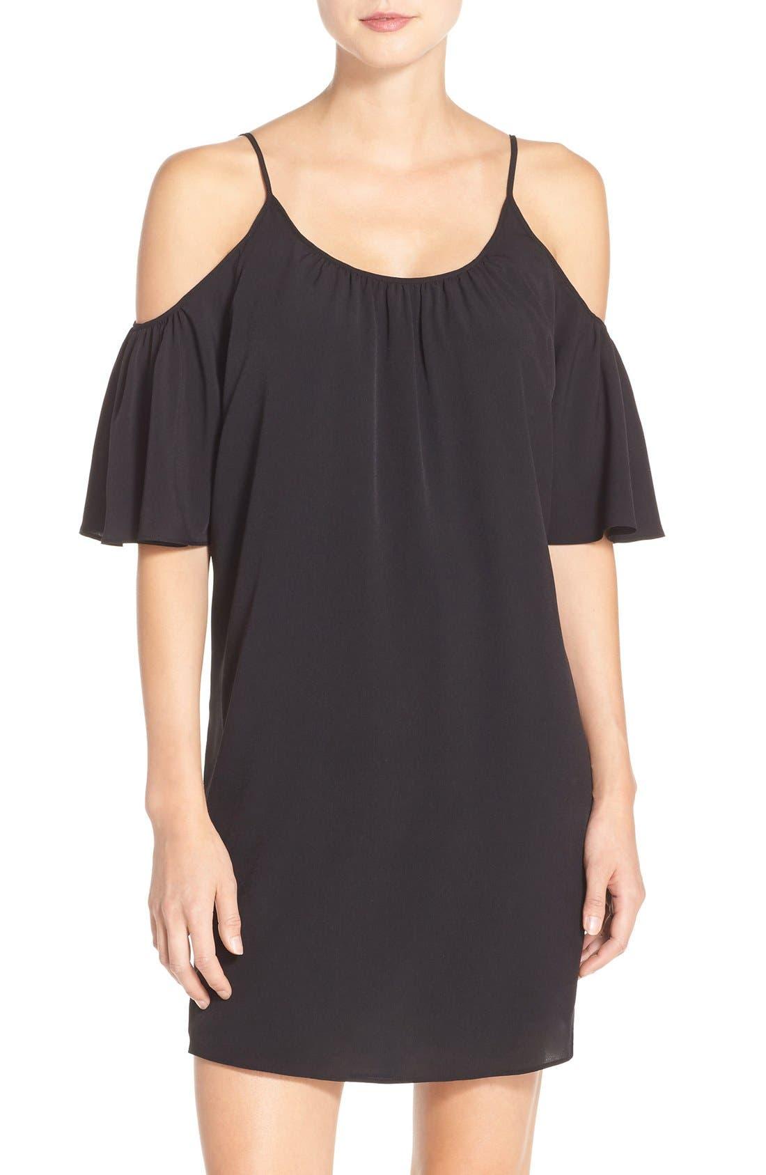 'Polly' Cold Shoulder Shift Dress,                         Main,                         color, 001