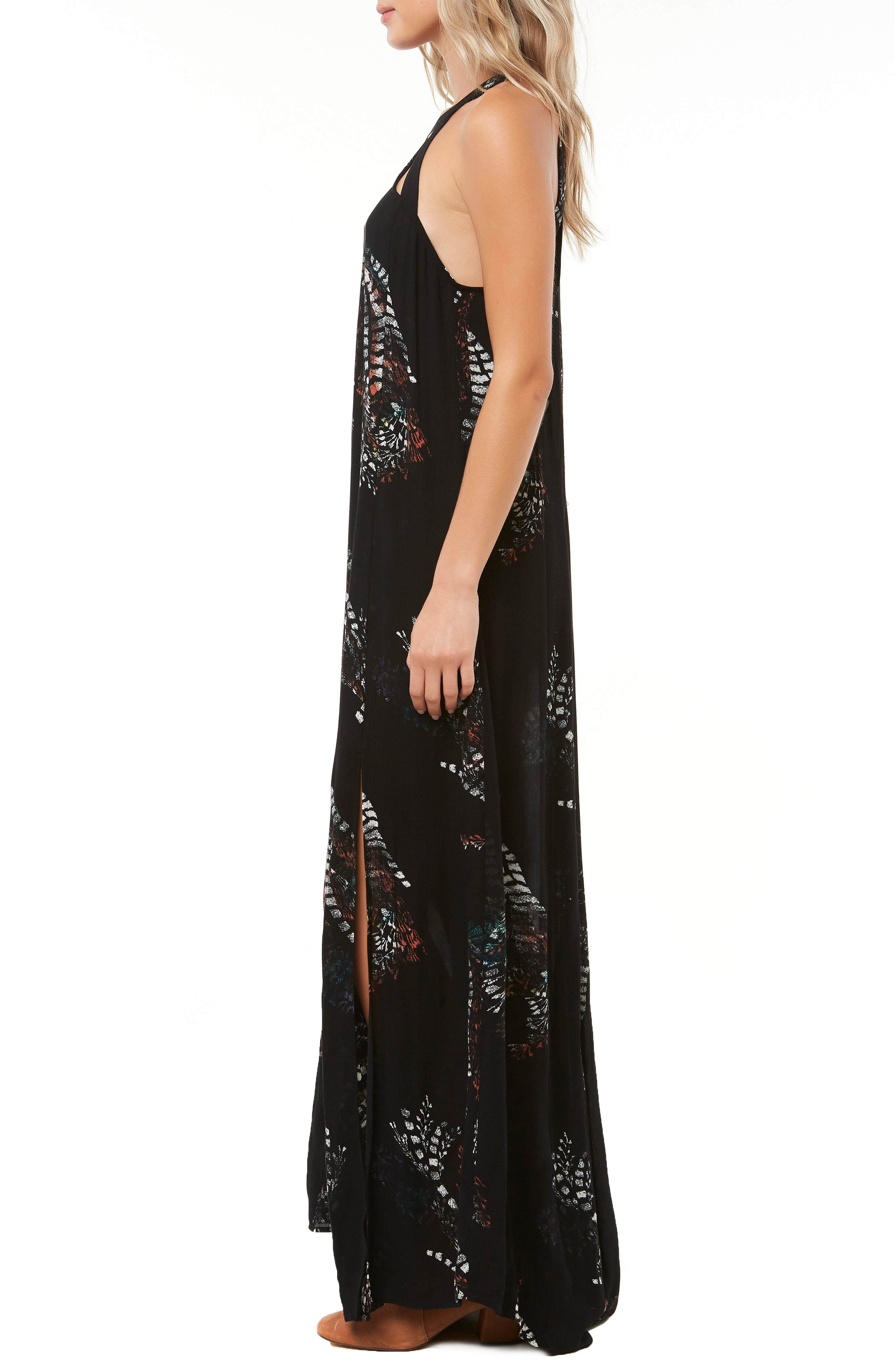 Luka Cutout Maxi Dress,                             Alternate thumbnail 3, color,                             BLACK