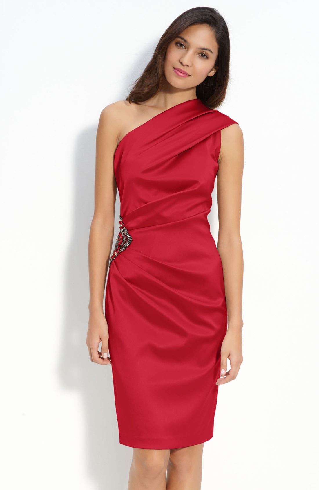 Beaded One-Shoulder Satin Dress,                             Main thumbnail 6, color,