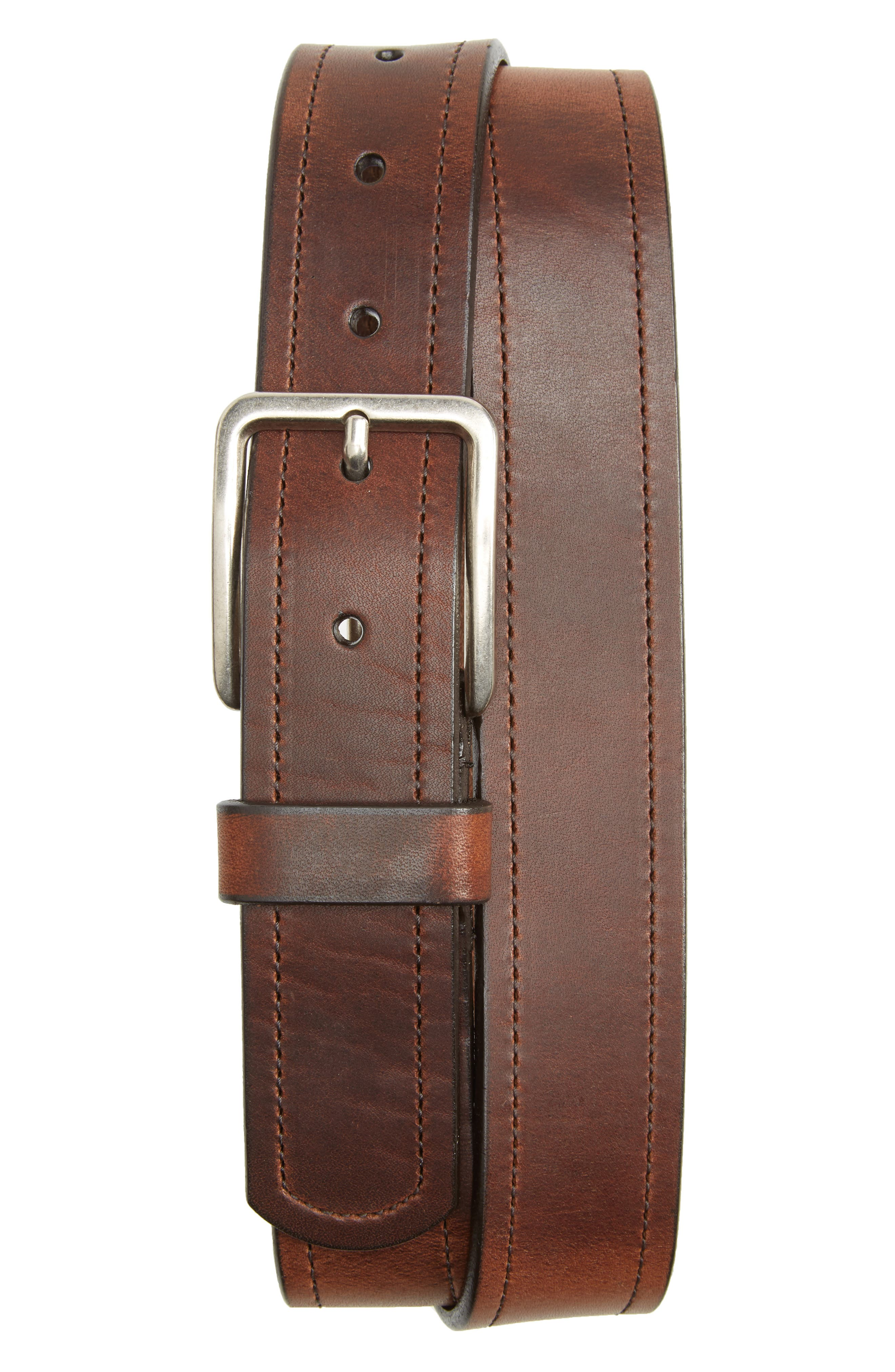 Dublin Horween Leather Belt,                             Main thumbnail 1, color,                             BROWN