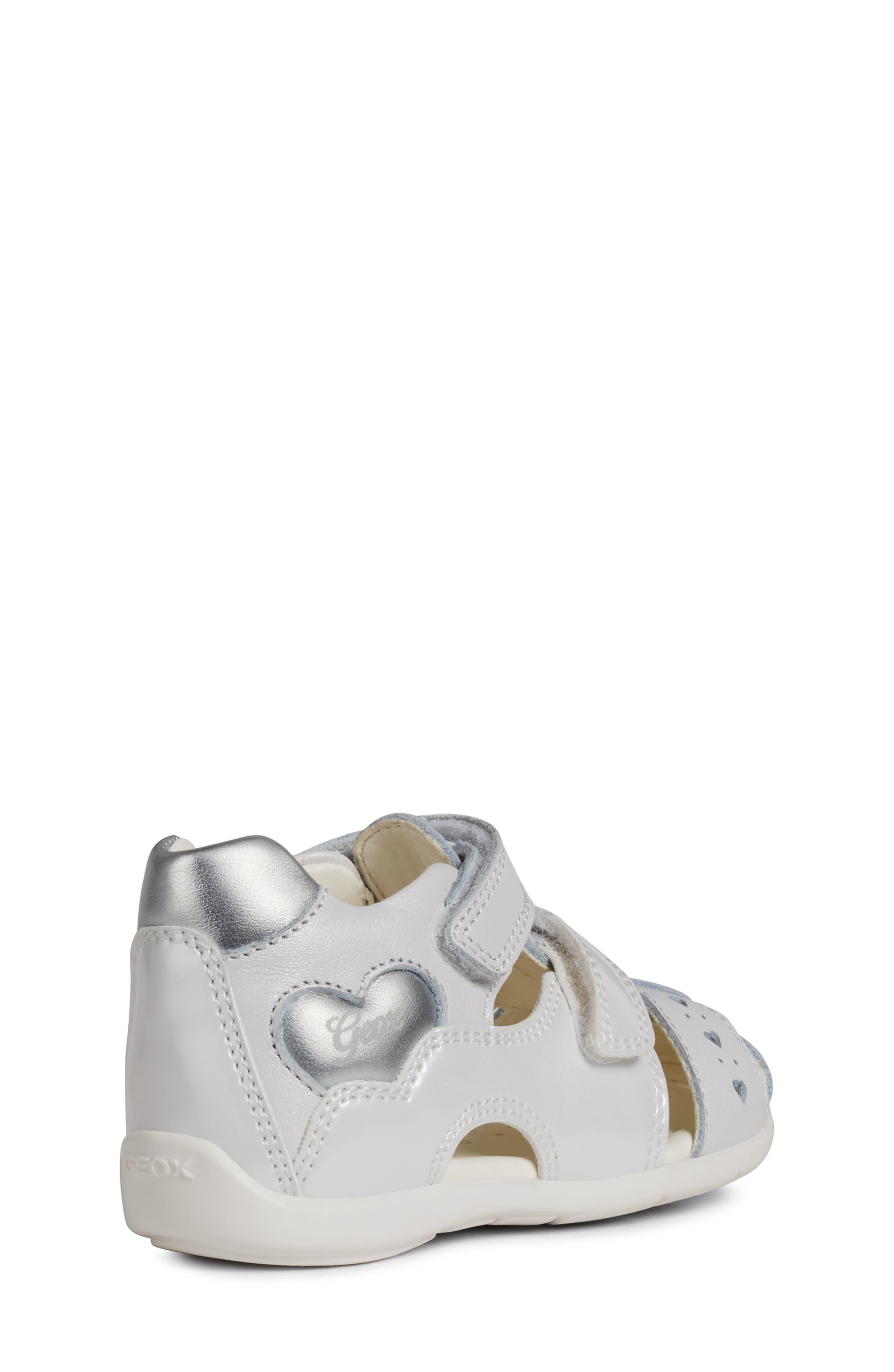 GEOX,                             Kaytan 52 Shimmery Sandal,                             Alternate thumbnail 7, color,                             WHITE/ SILVER