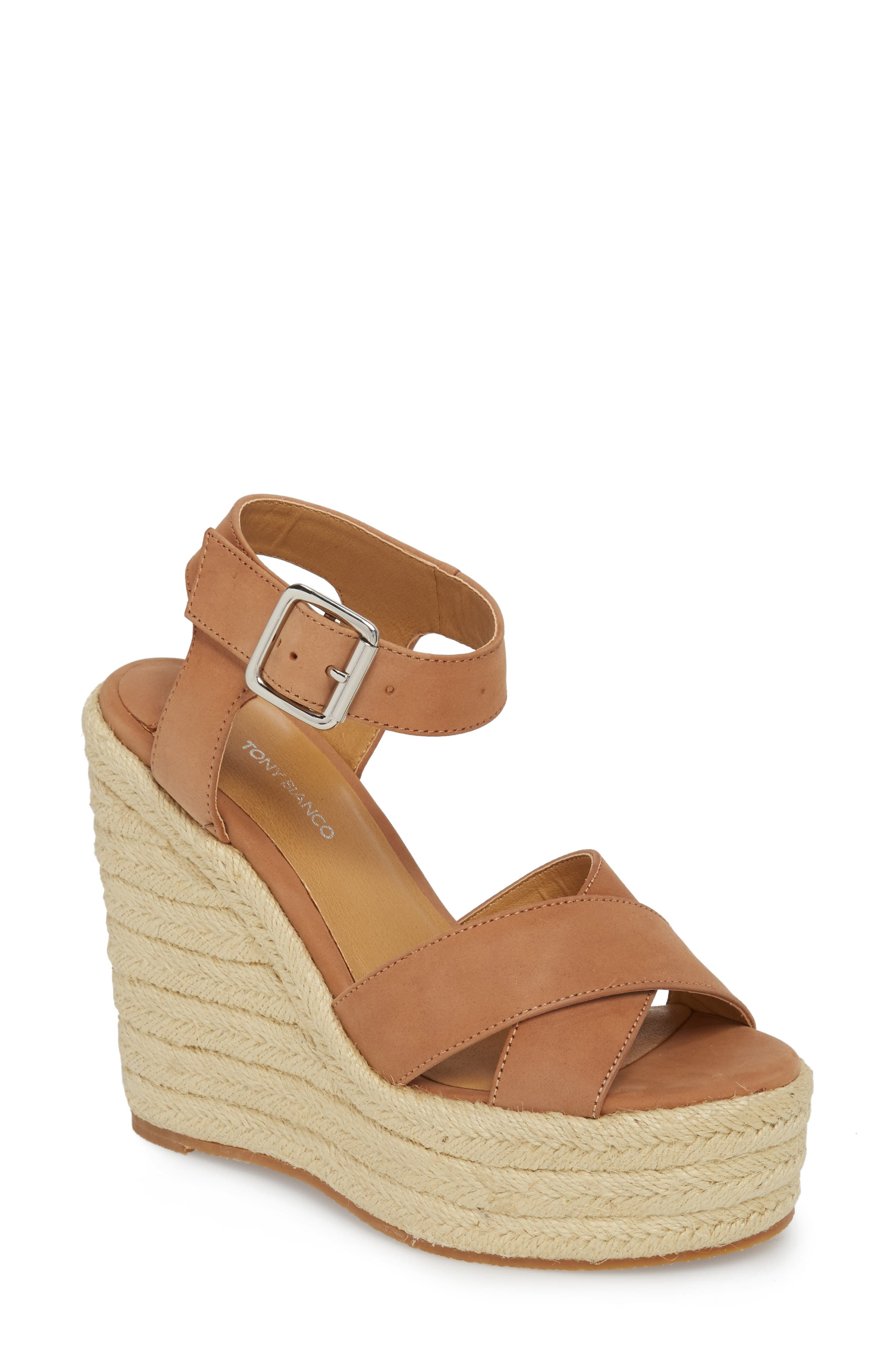 Boston Espadrille Wedge Sandal,                             Main thumbnail 1, color,                             CARAMEL PHOENIX LEATHER