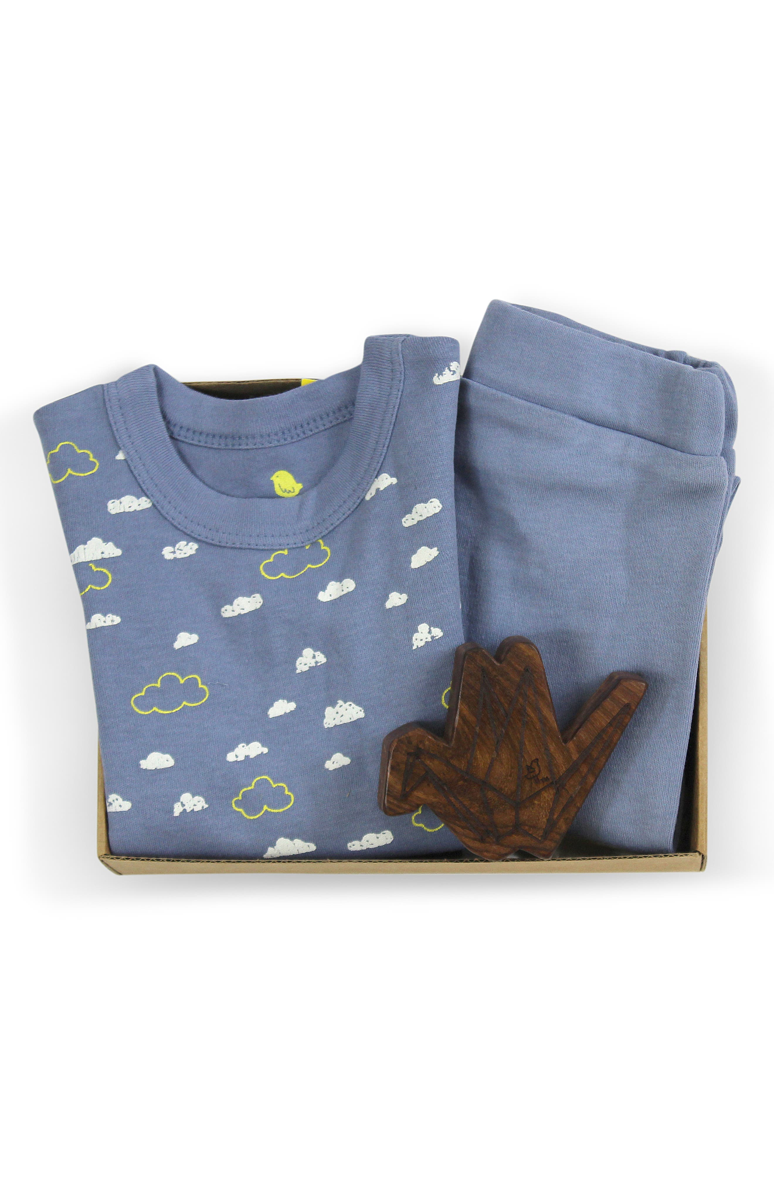 Clouds Fitted Two-Piece Organic Cotton Pajamas & Origami Wood Teether Rattle Set,                             Alternate thumbnail 2, color,                             450