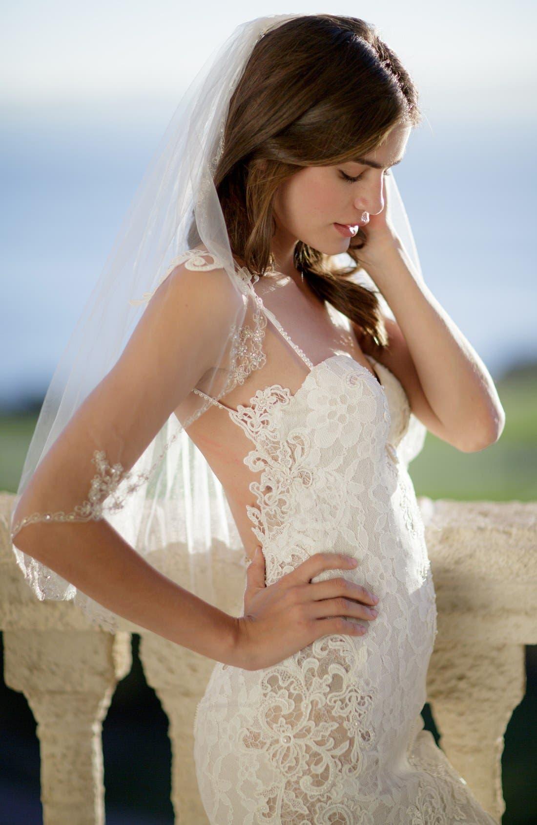 'Sophie' Embellished Tulle Veil,                             Main thumbnail 1, color,                             IVORY