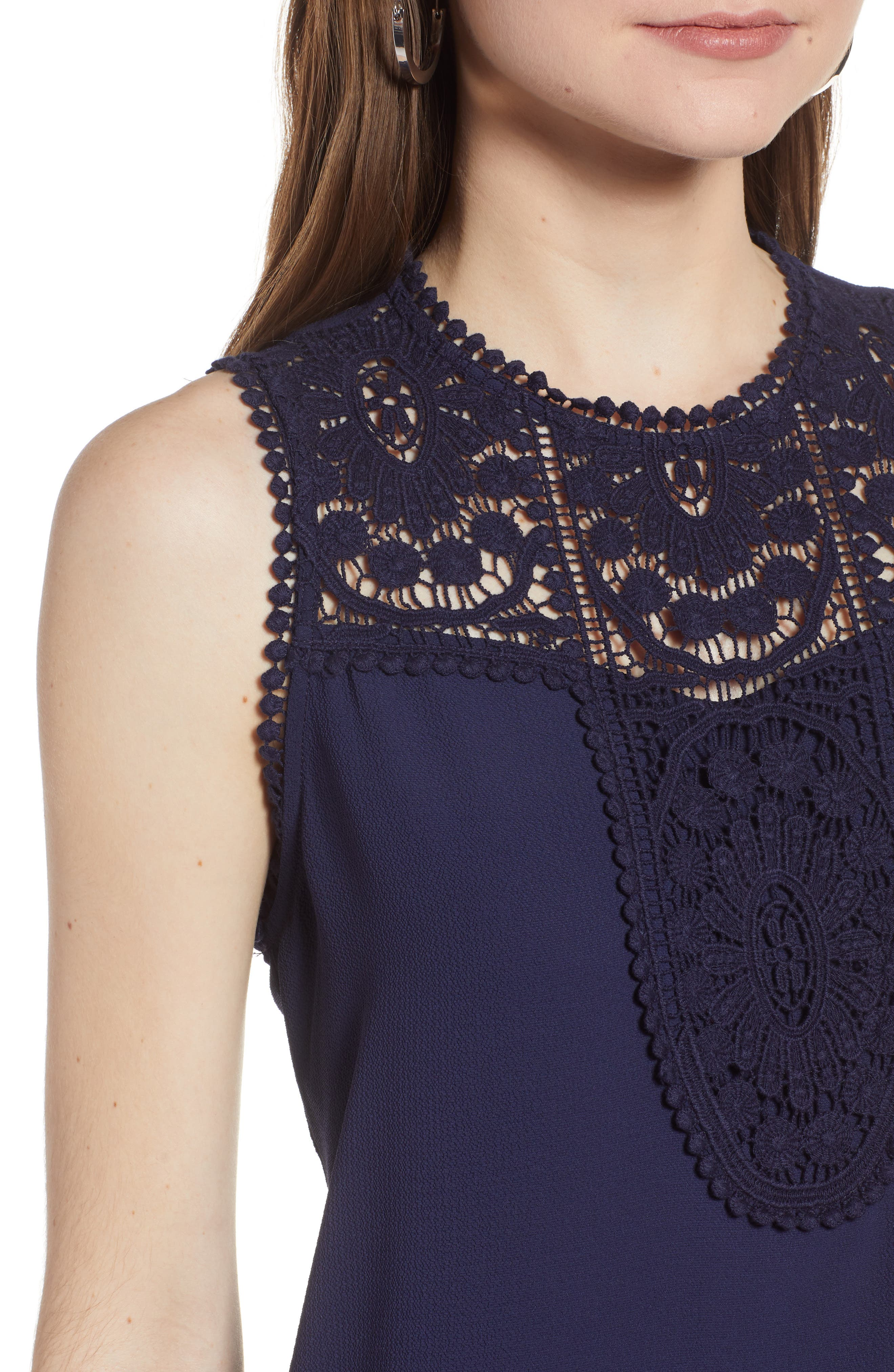 Lace & Crepe Top,                             Alternate thumbnail 4, color,                             NAVY PEACOAT