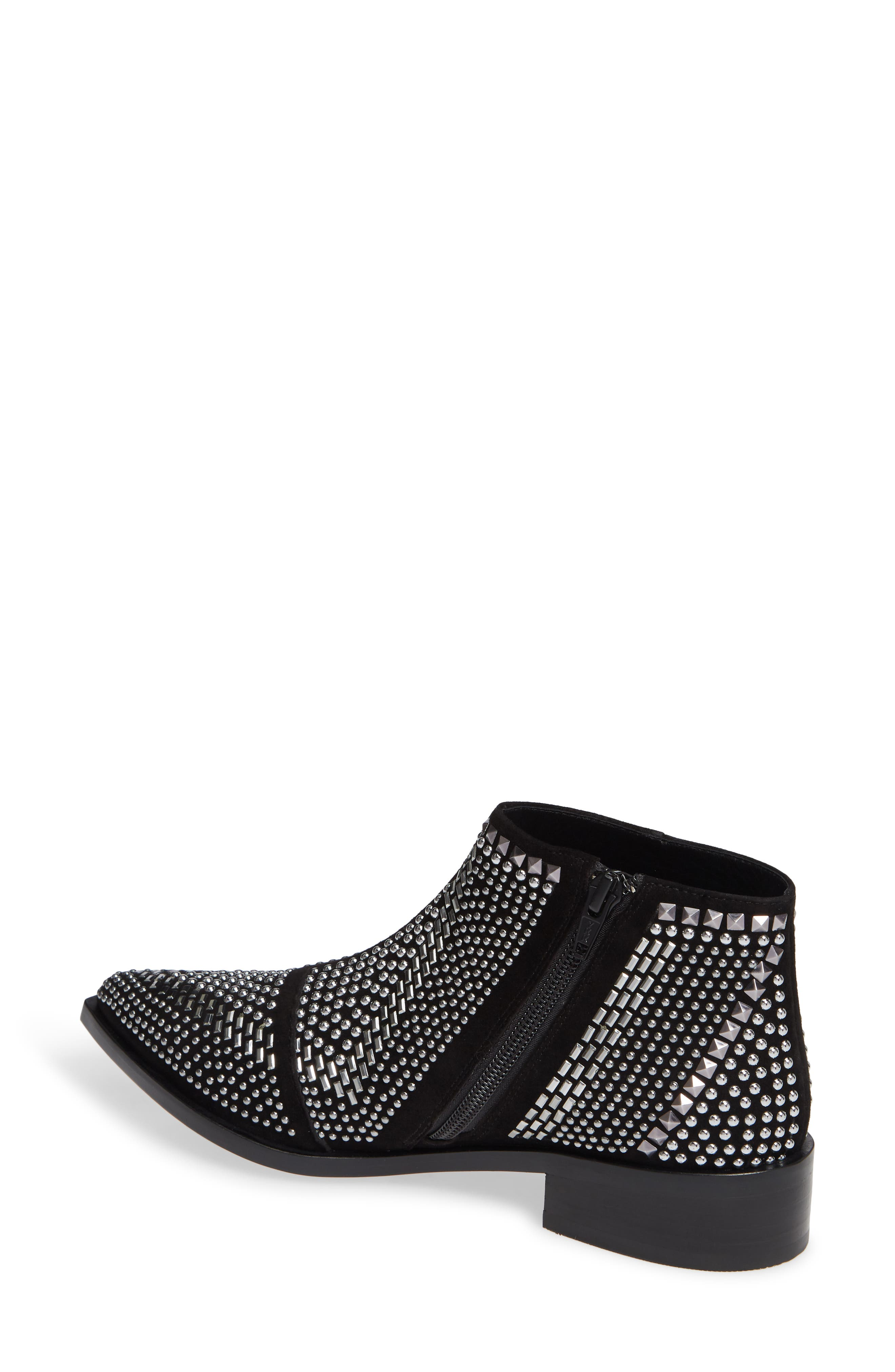 Bianka Studded Bootie,                             Alternate thumbnail 2, color,                             BLACK SUEDE