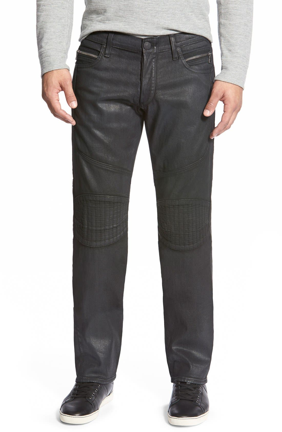 x Russell Westbrook 'Geno' Straight Leg Moto Jeans,                             Main thumbnail 1, color,                             003