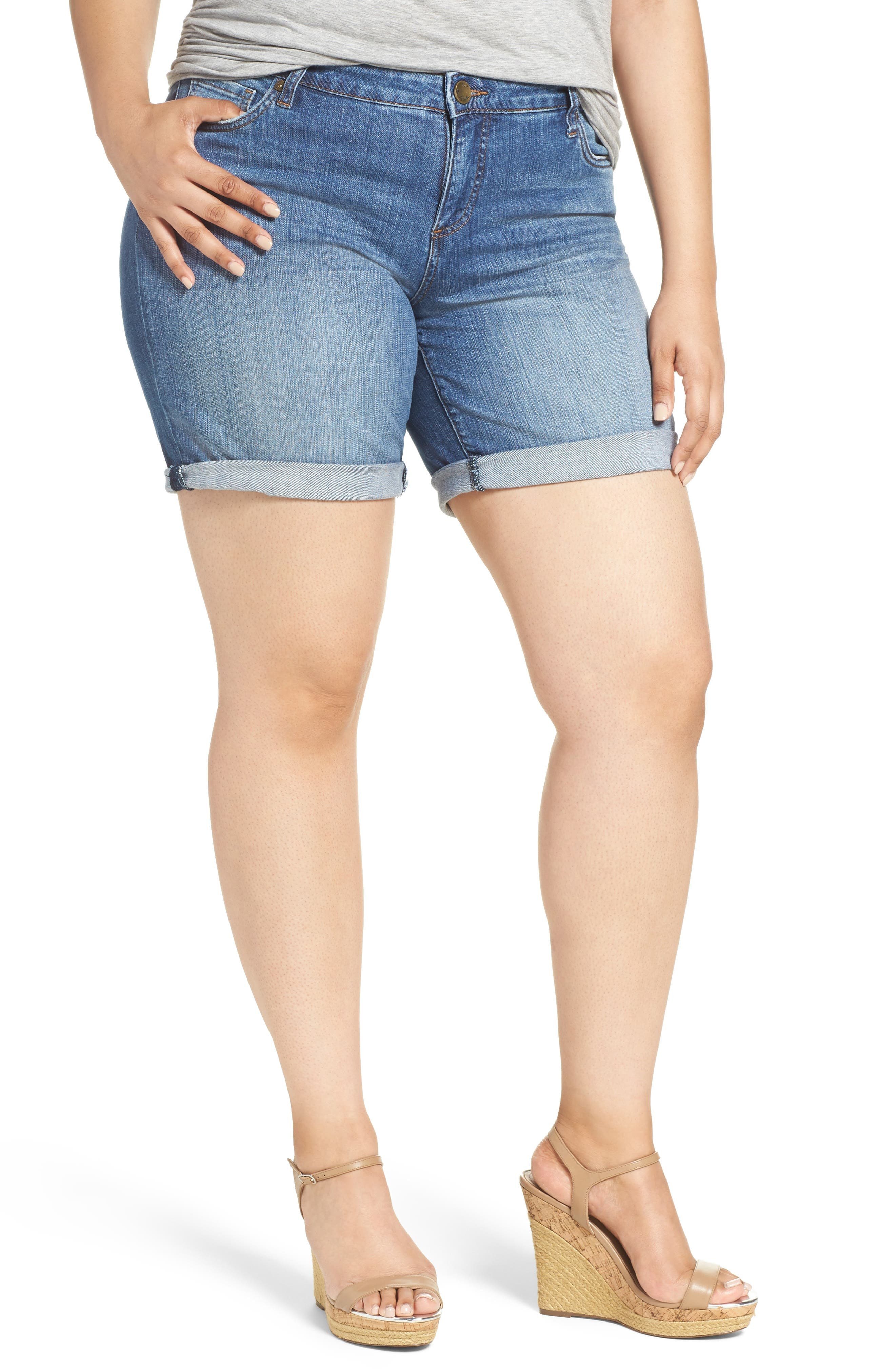 Plus Women's Kut From The Kloth Catherine Denim Boyfriend Shorts