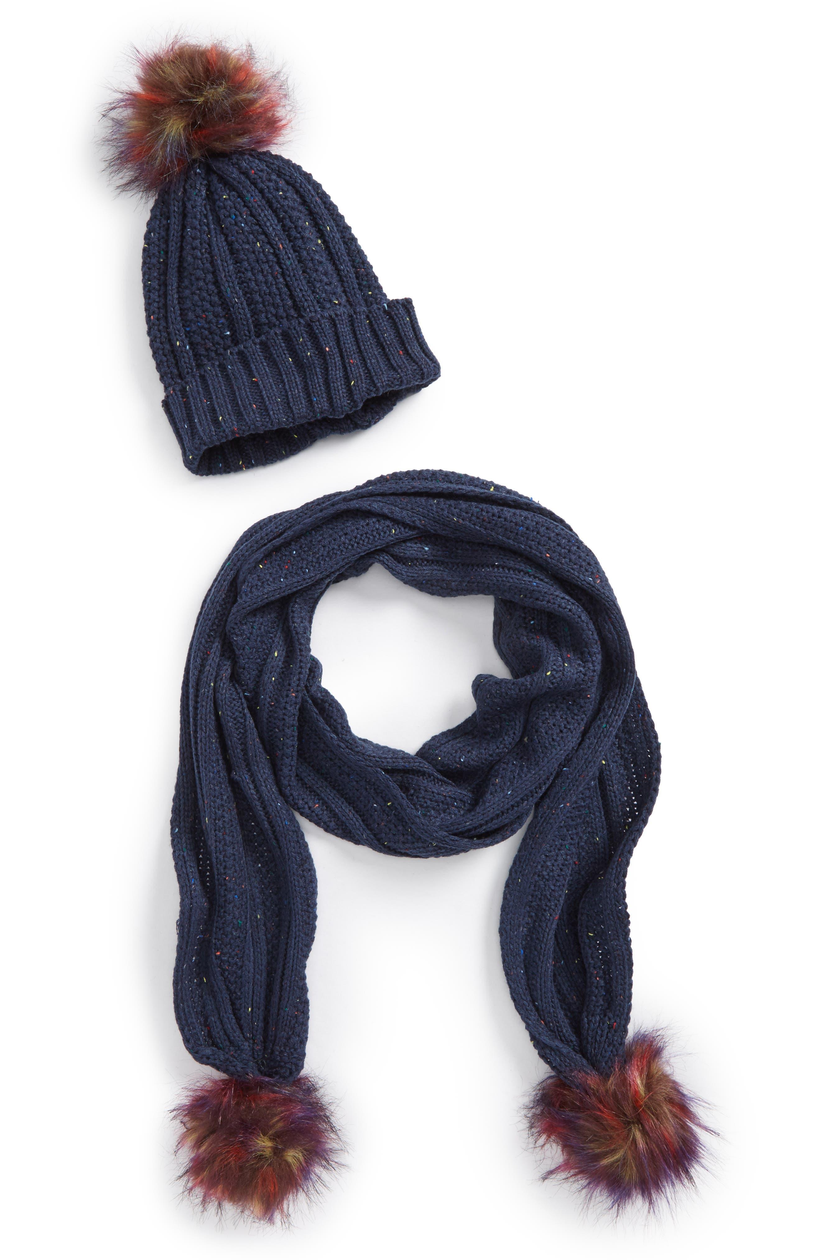 Faux Fur Pompom Knit Beanie & Scarf,                             Main thumbnail 2, color,