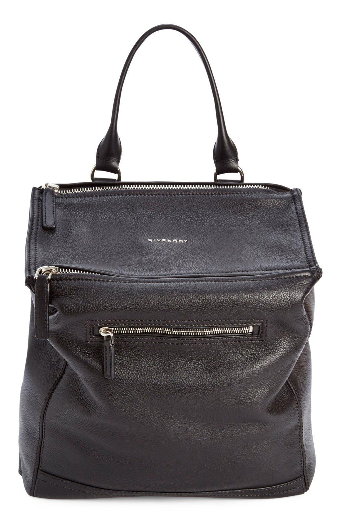 'Pandora' Waxy Leather Backpack,                             Main thumbnail 1, color,                             001